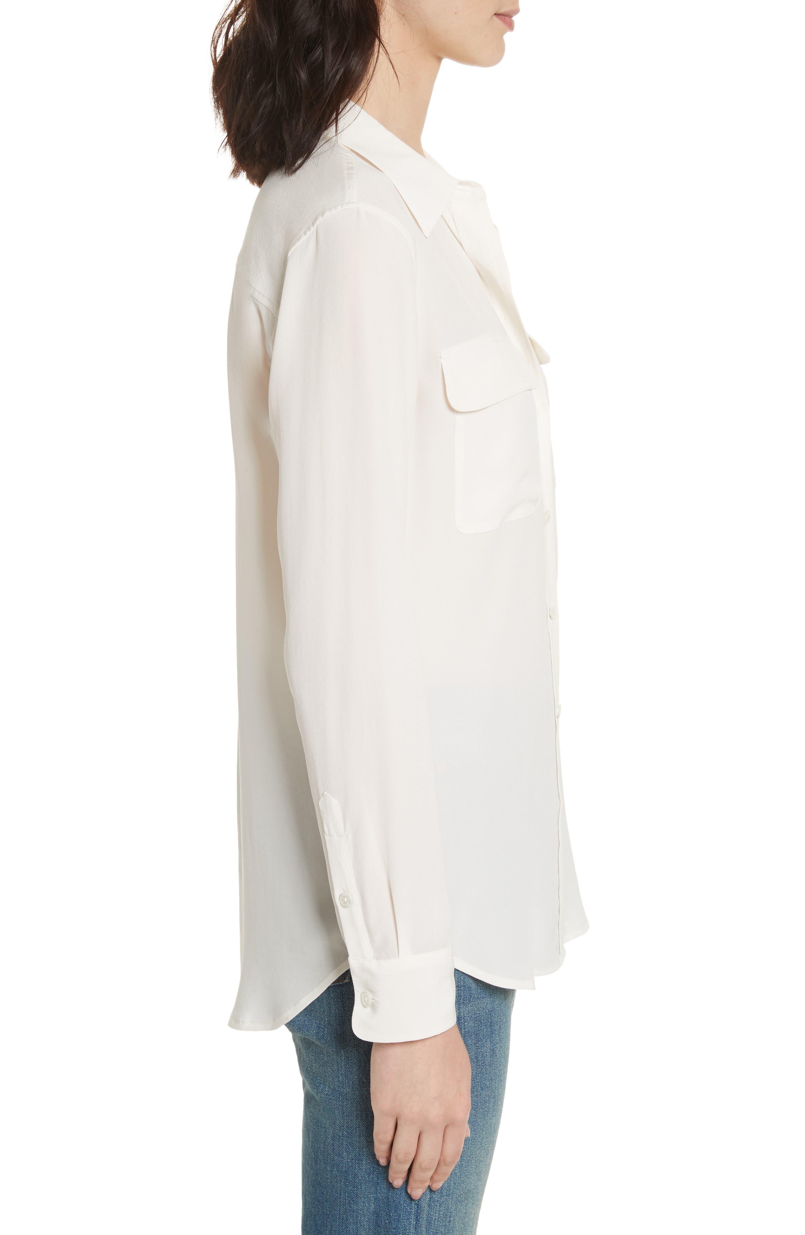 EQUIPMENT,                             'Slim Signature' Silk Shirt,                             Alternate thumbnail 3, color,                             BRIGHT WHITE
