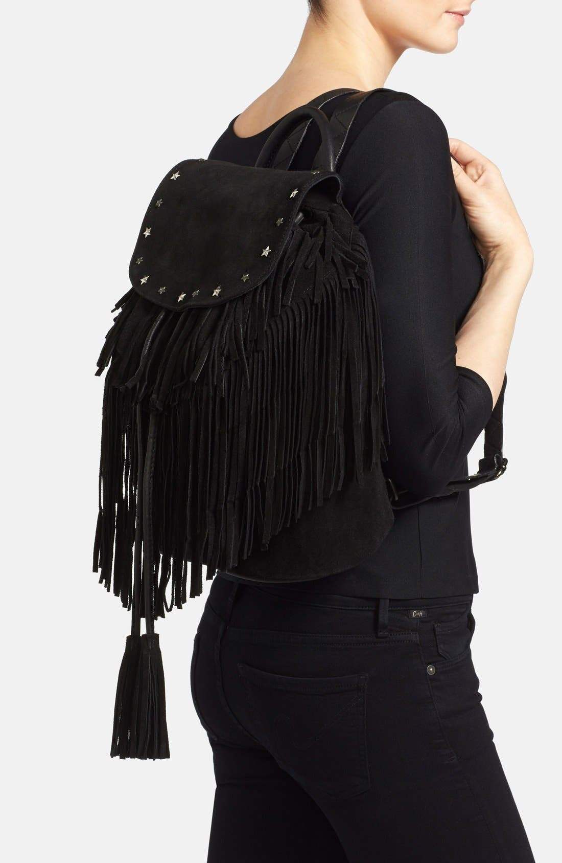 Fringed Suede Backpack,                             Alternate thumbnail 2, color,                             001
