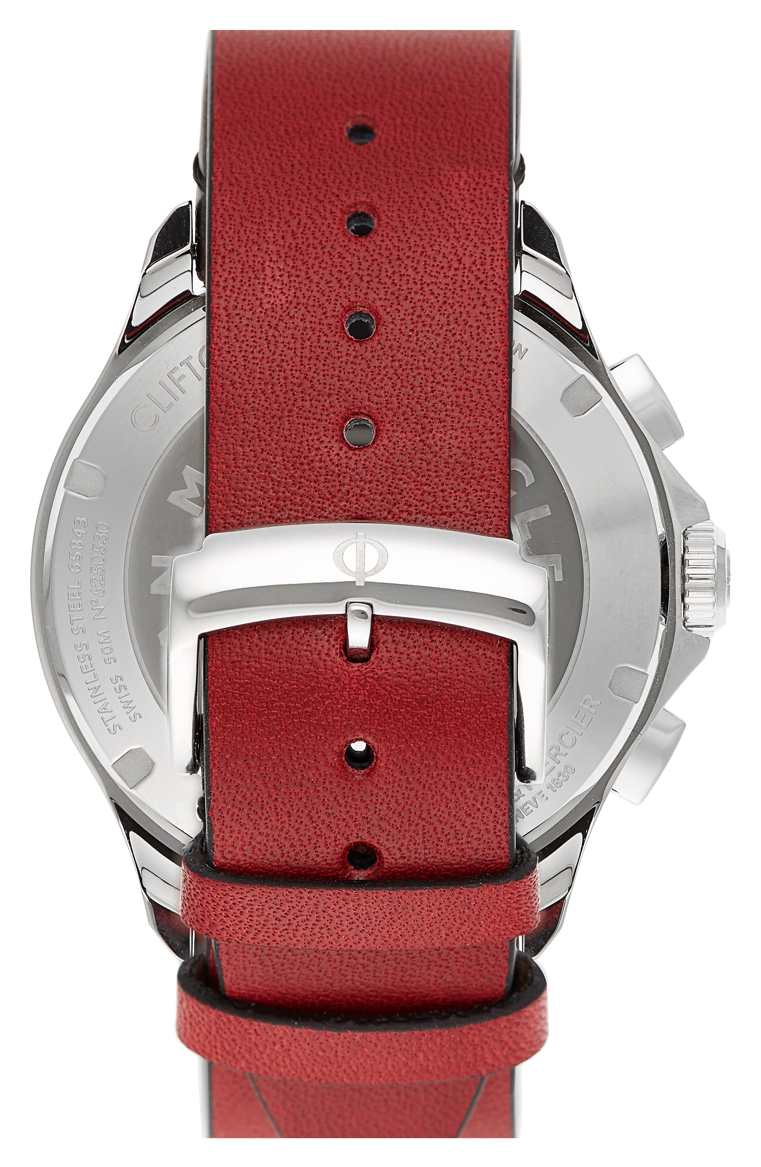 Clifton Limited Edition Automatic Leather Strap Watch, 44mm,                             Alternate thumbnail 3, color,                             WHITE/RED