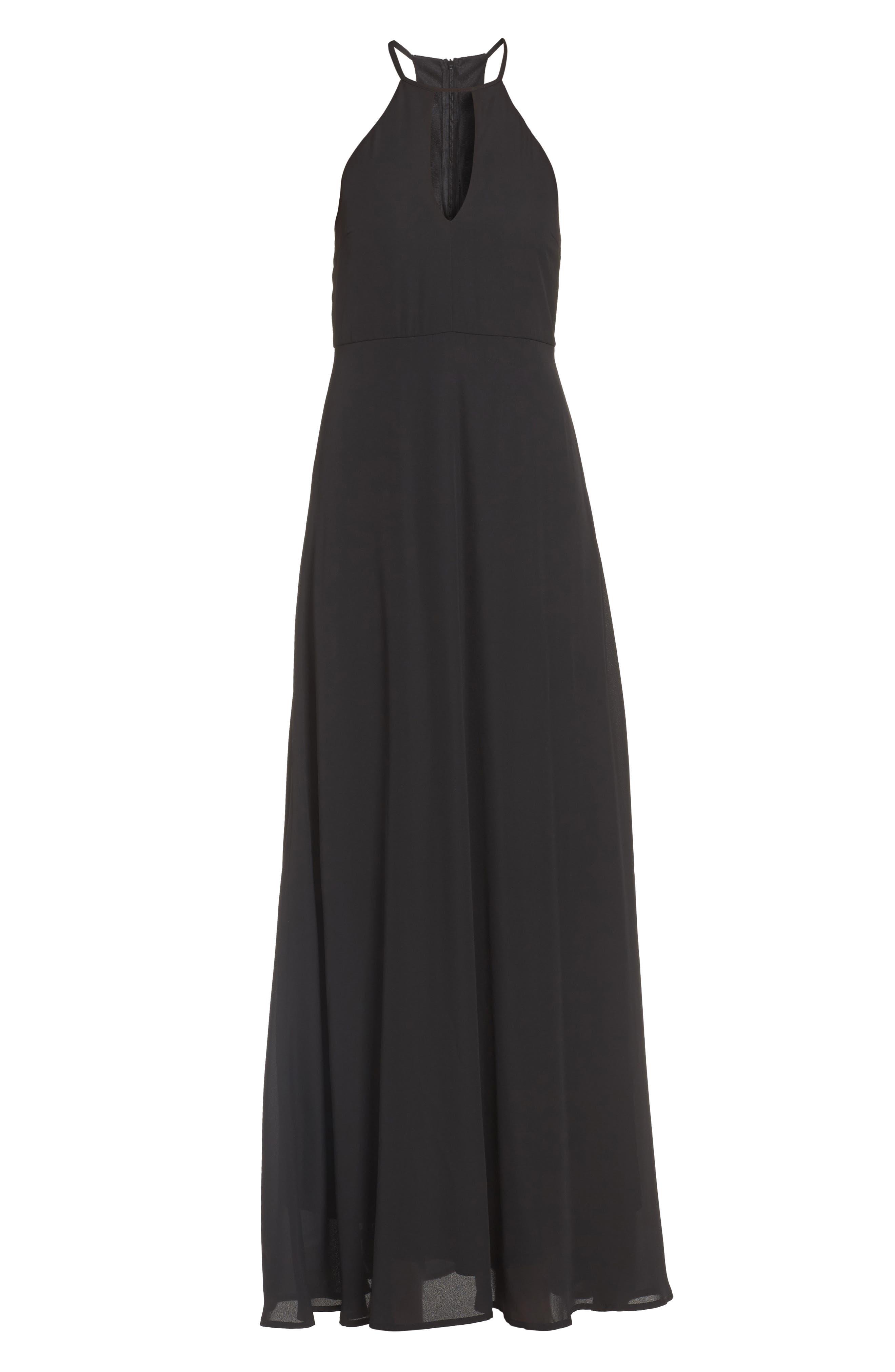 Halter A-Line Chiffon Gown,                             Alternate thumbnail 6, color,                             001