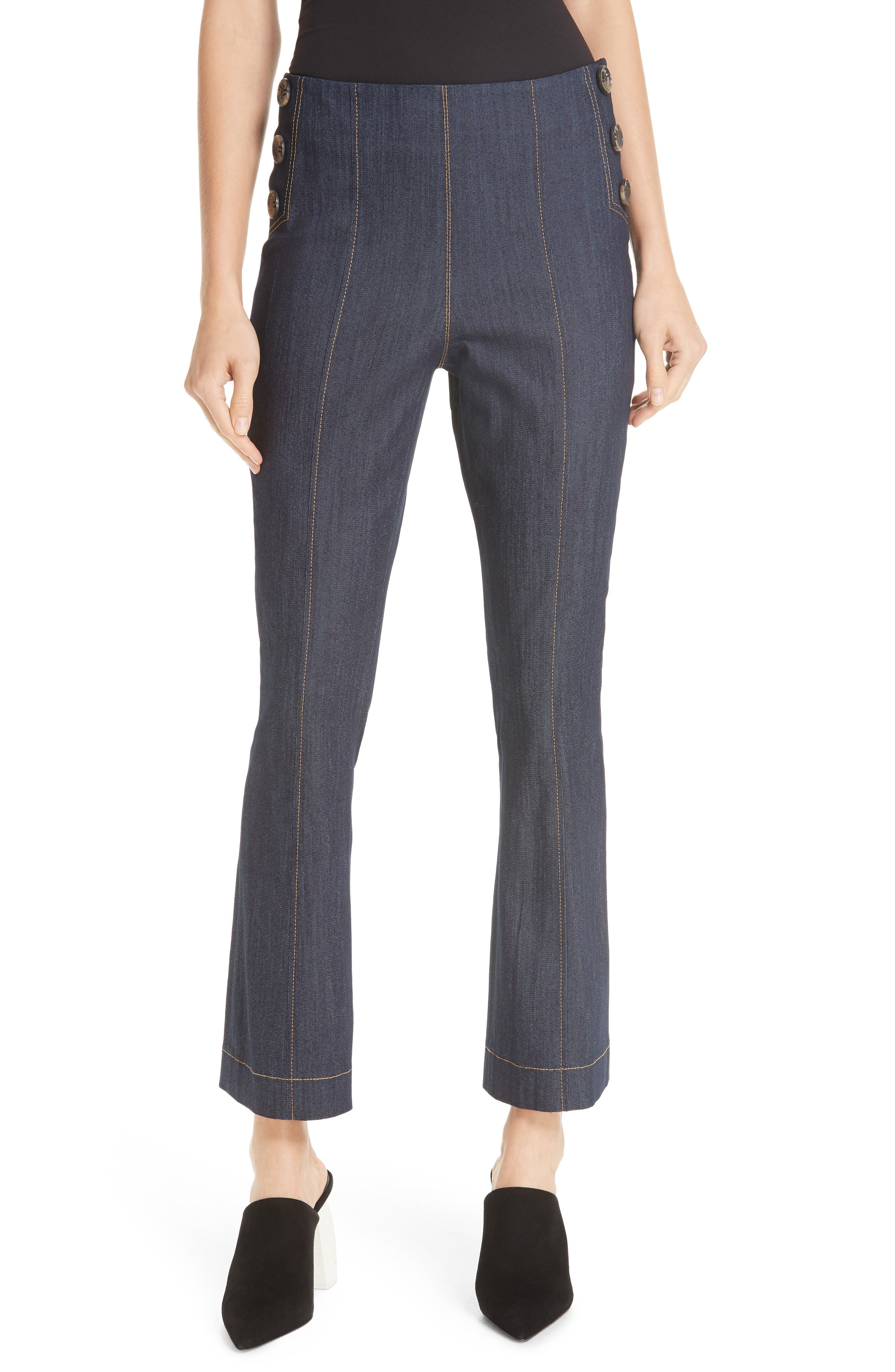Cinq A Sept Chantal Side Button Crop Flare Pants, Blue