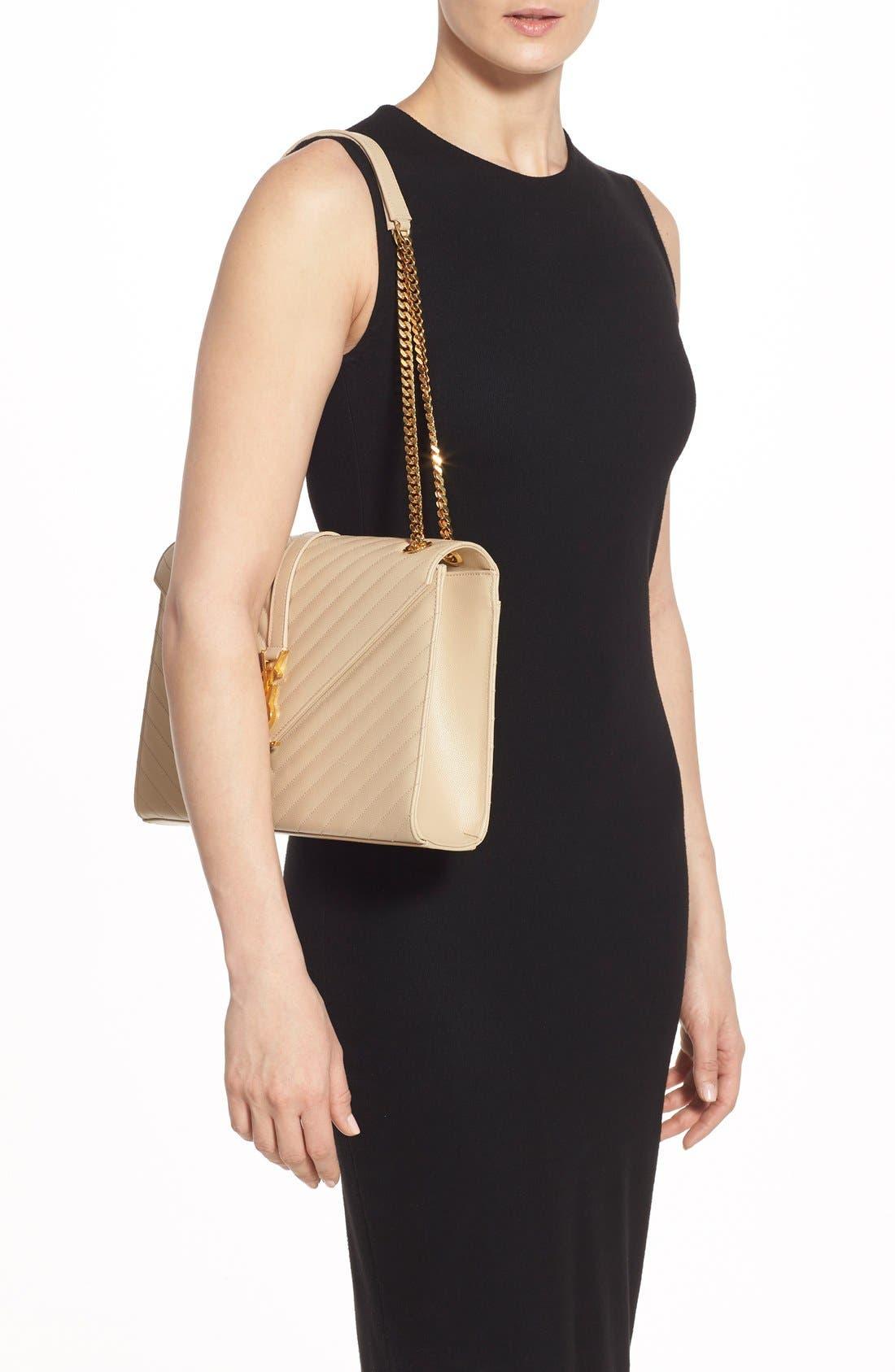 SAINT LAURENT,                             'Large Monogram' Grained Leather Shoulder Bag,                             Alternate thumbnail 2, color,                             POUDRE