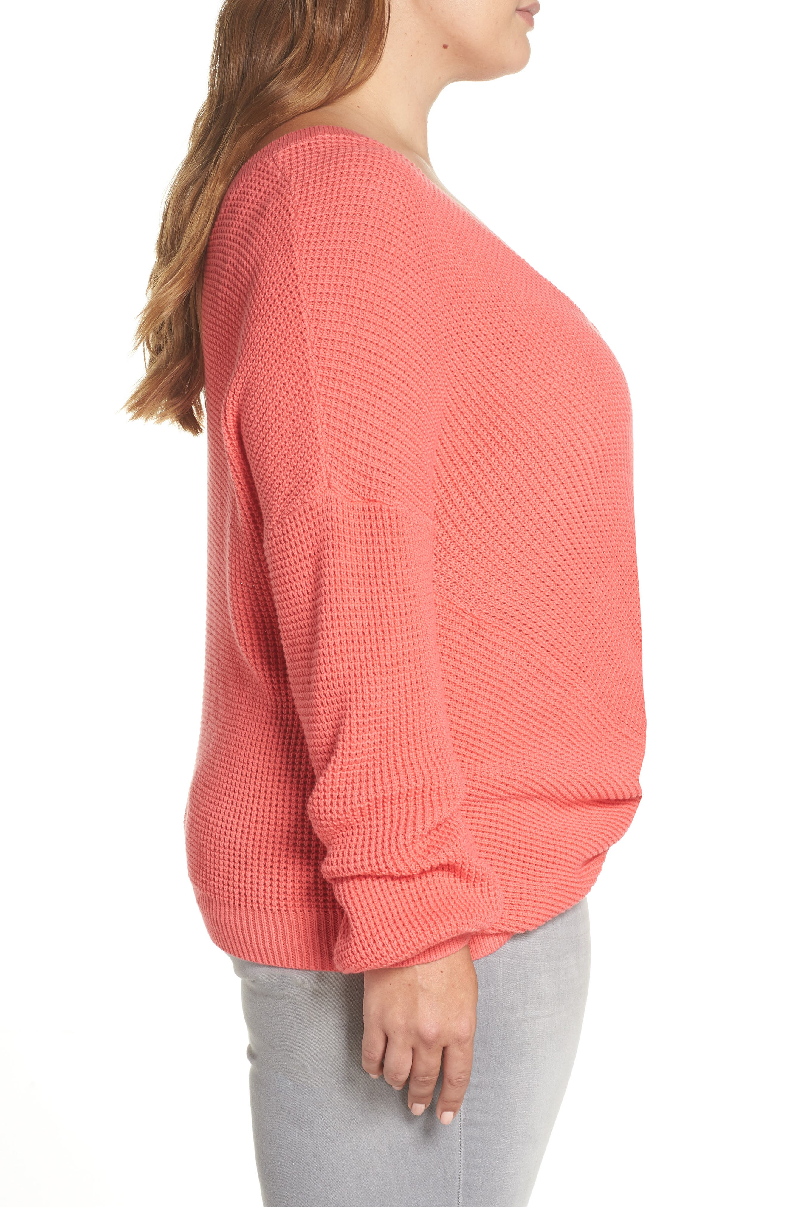 Twist Front Sweater,                             Alternate thumbnail 9, color,                             CORAL SUNKIST