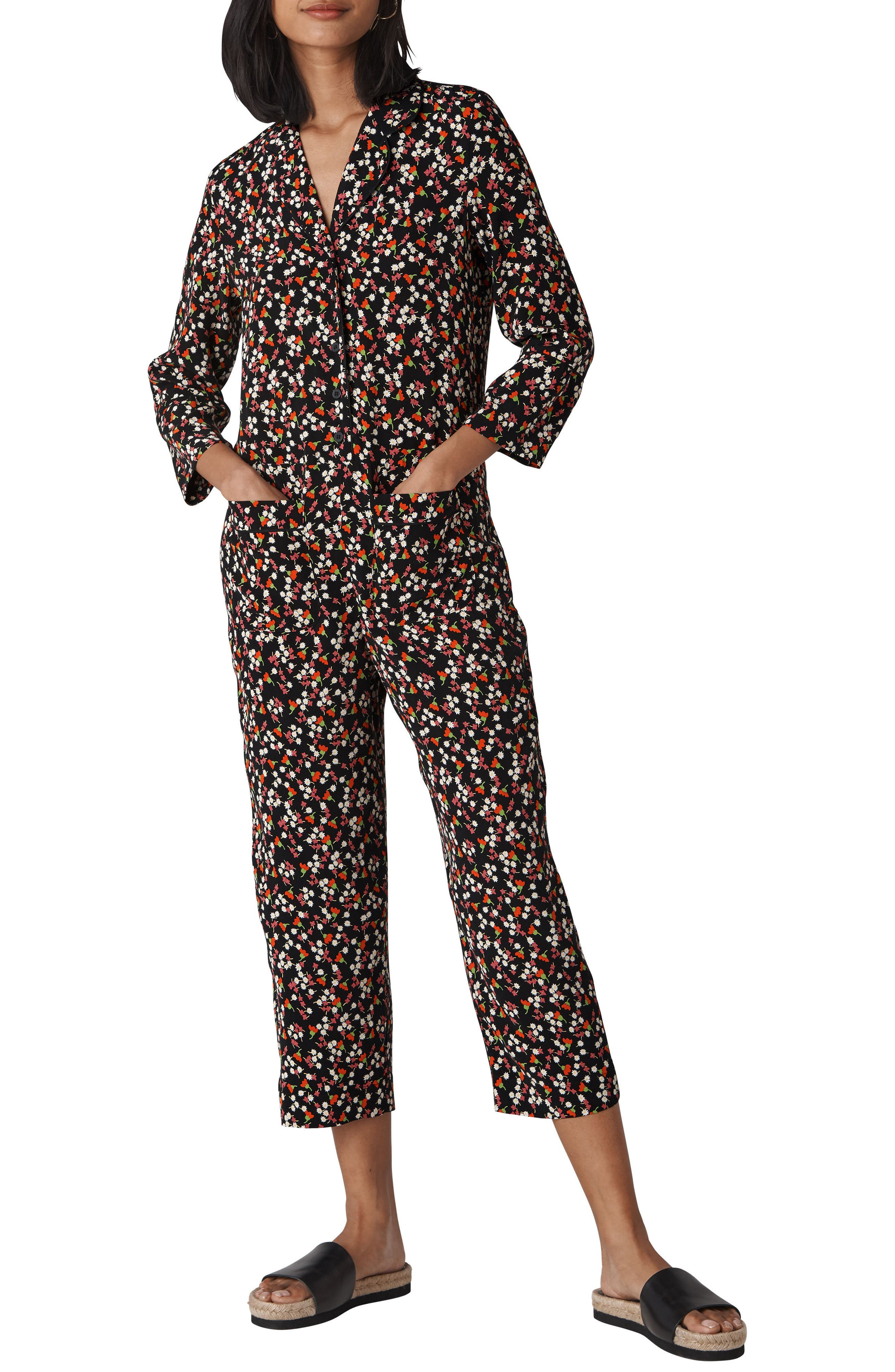 Peony Print Relaxed Jumpsuit,                         Main,                         color, BLACK/ MULTI