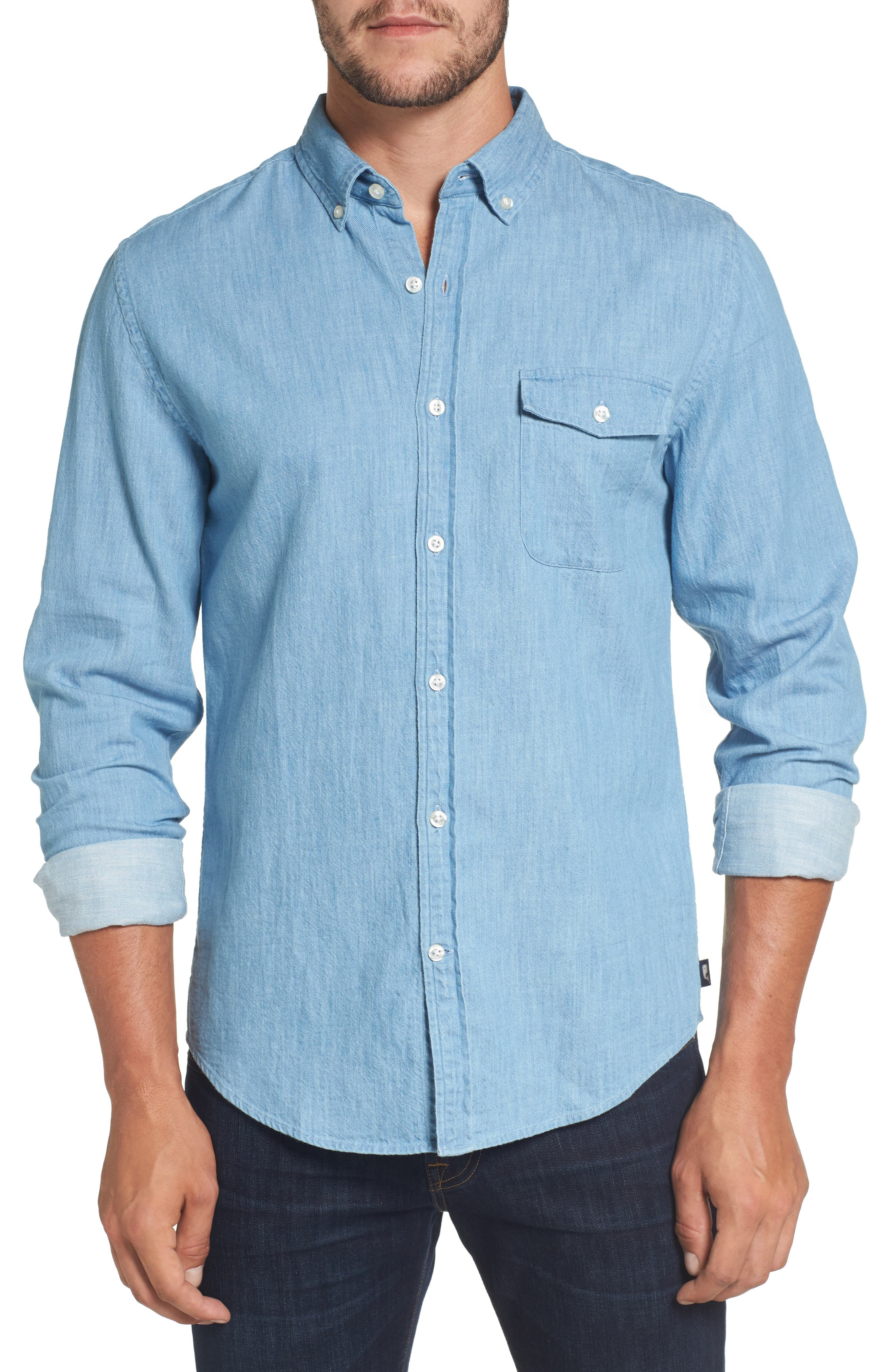 Lightkeeper Slim Fit Chambray Sport Shirt,                         Main,                         color, 429