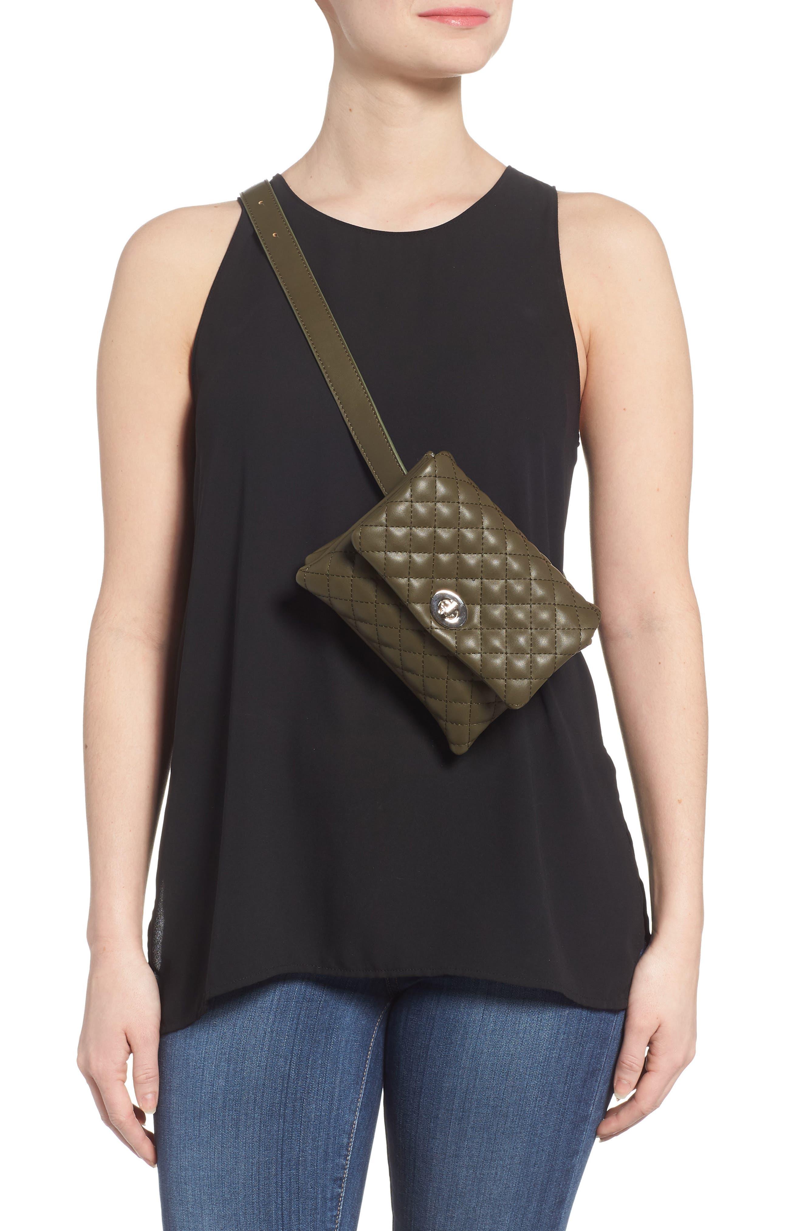 Mali + Lili Quilted Vegan Leather Convertible Belt Bag,                             Alternate thumbnail 3, color,                             OLIVE