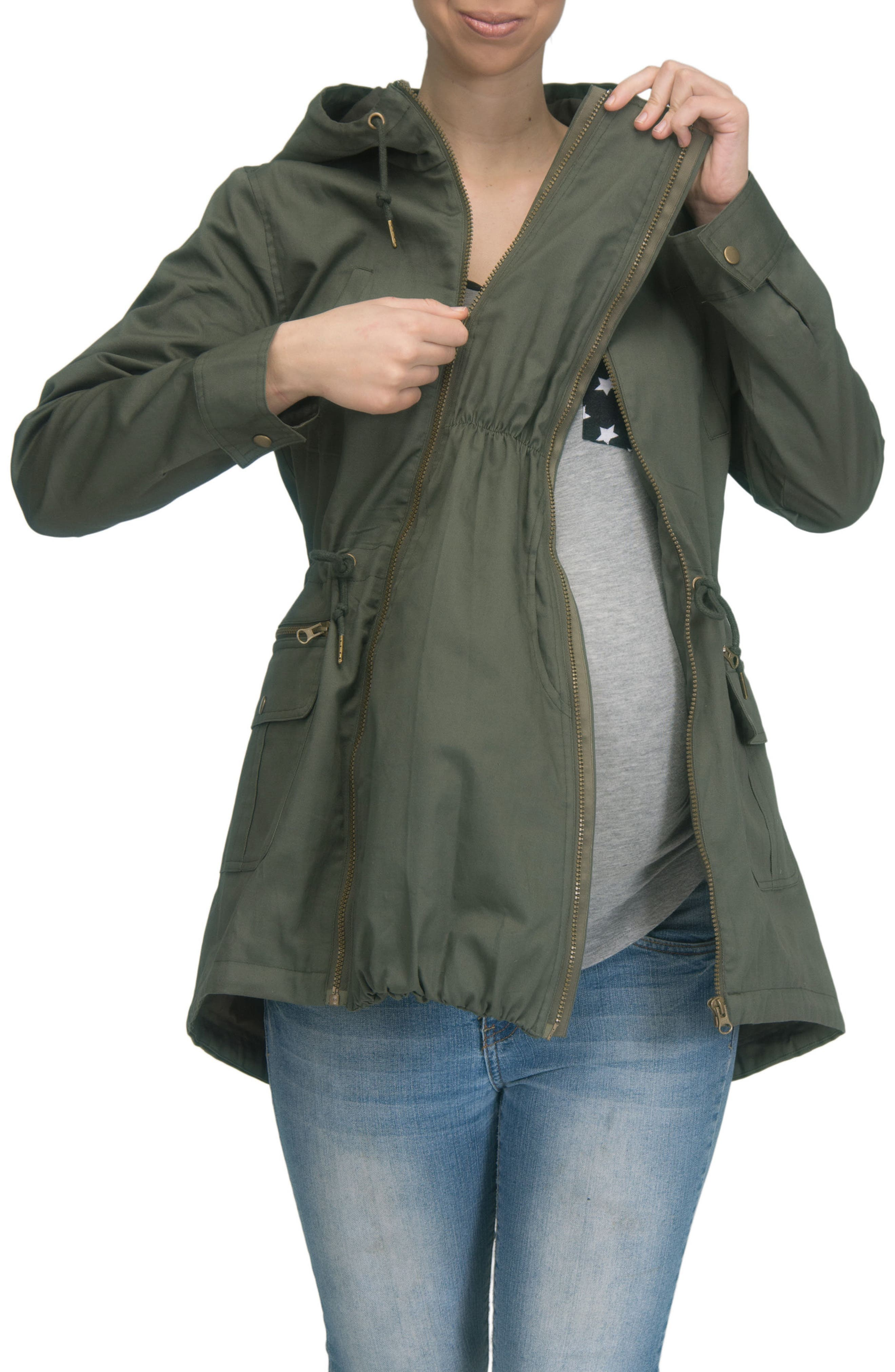 Convertible Military 3-in-1 Maternity/Nursing Jacket,                             Alternate thumbnail 11, color,                             KHAKI GREEN