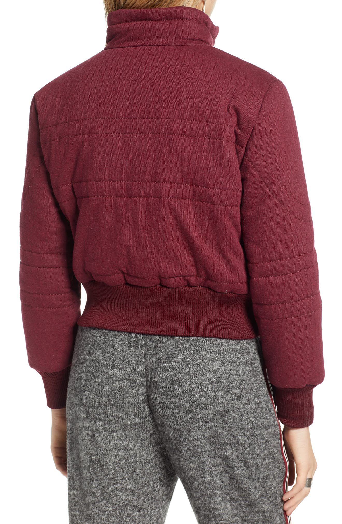 TREASURE & BOND,                             Flannel Crop Puffer Jacket,                             Alternate thumbnail 2, color,                             RED TANNIN HEATHER