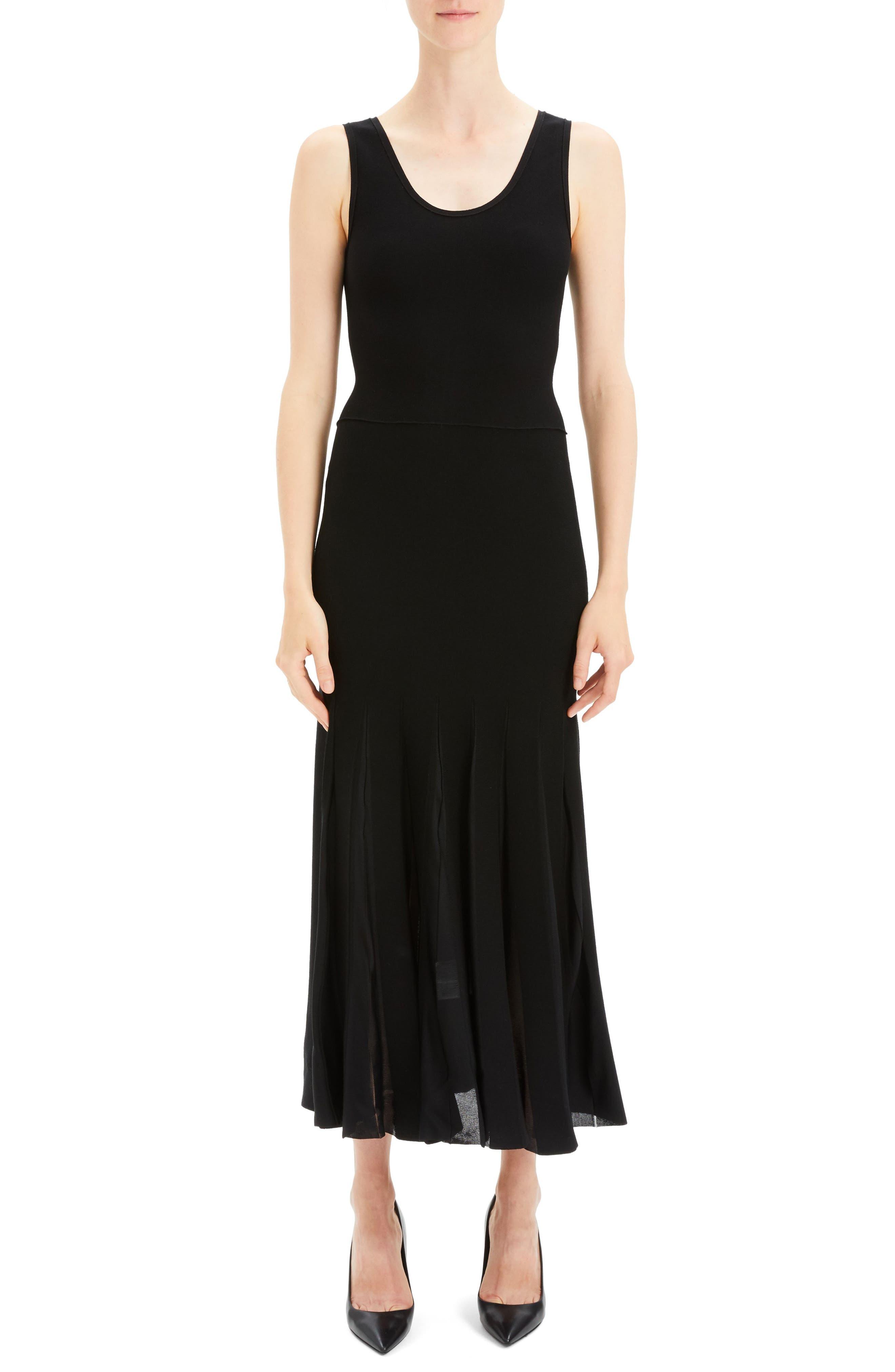 Pleated Tank Dress,                             Main thumbnail 1, color,                             BLACK/ BLACK