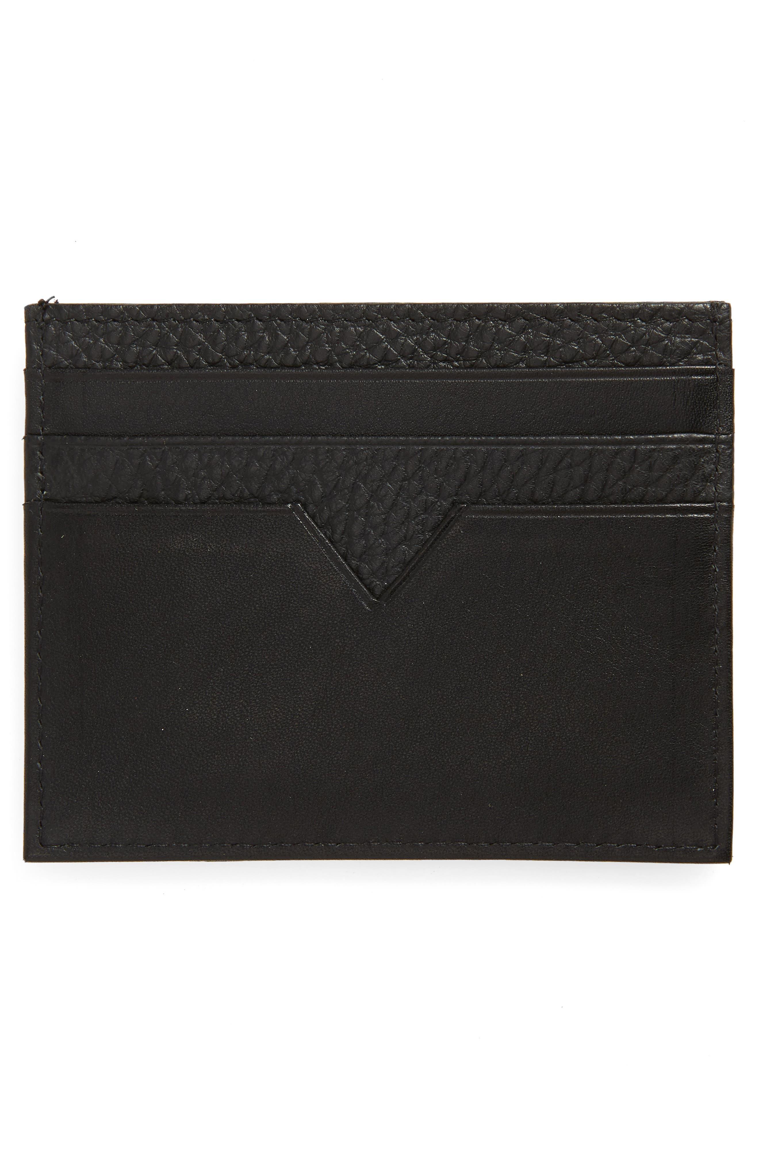 Pebbled Leather Card Holder,                             Alternate thumbnail 2, color,                             BLACK