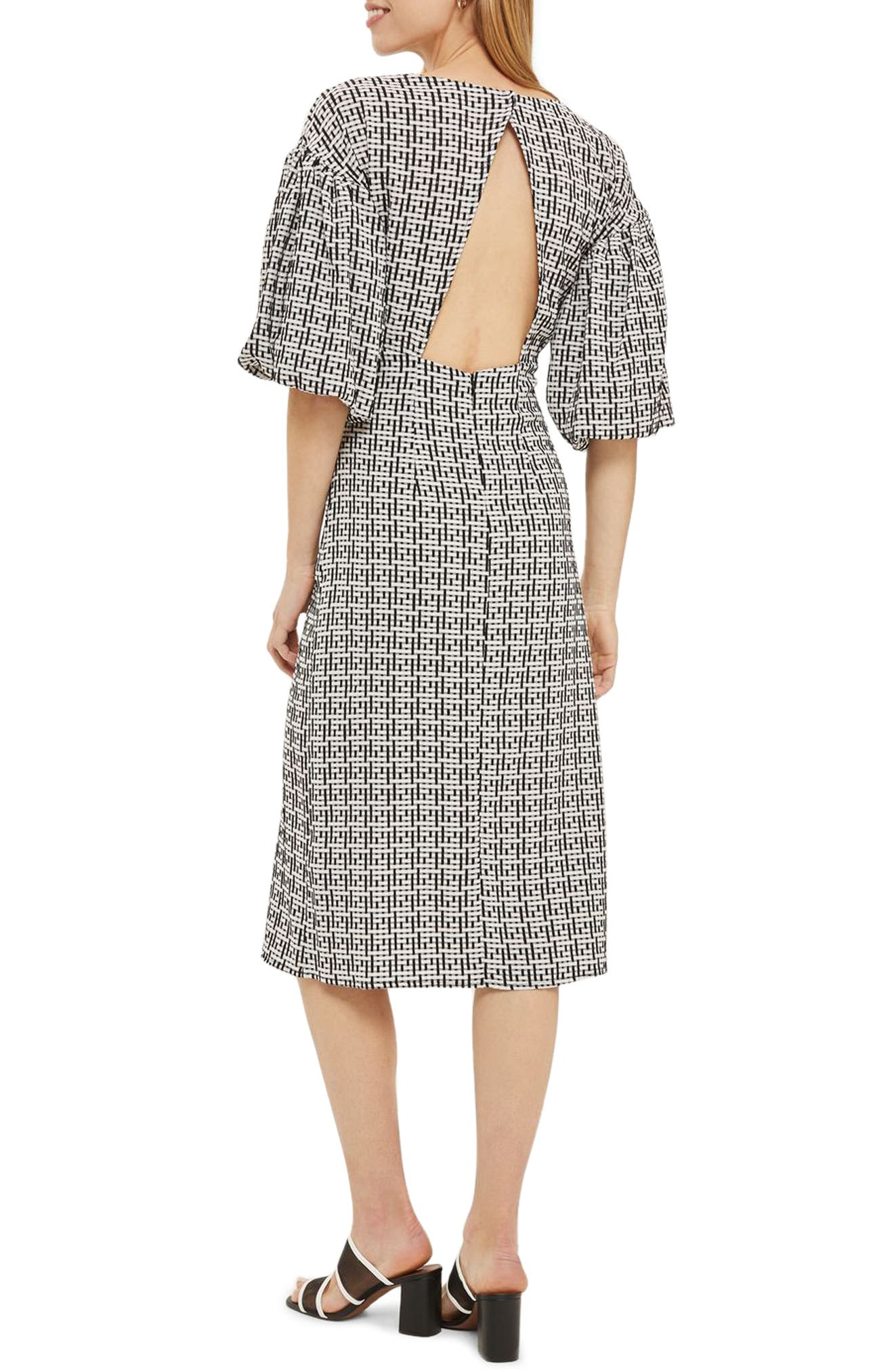 Puff Sleeve Sheath Dress,                             Alternate thumbnail 2, color,                             001