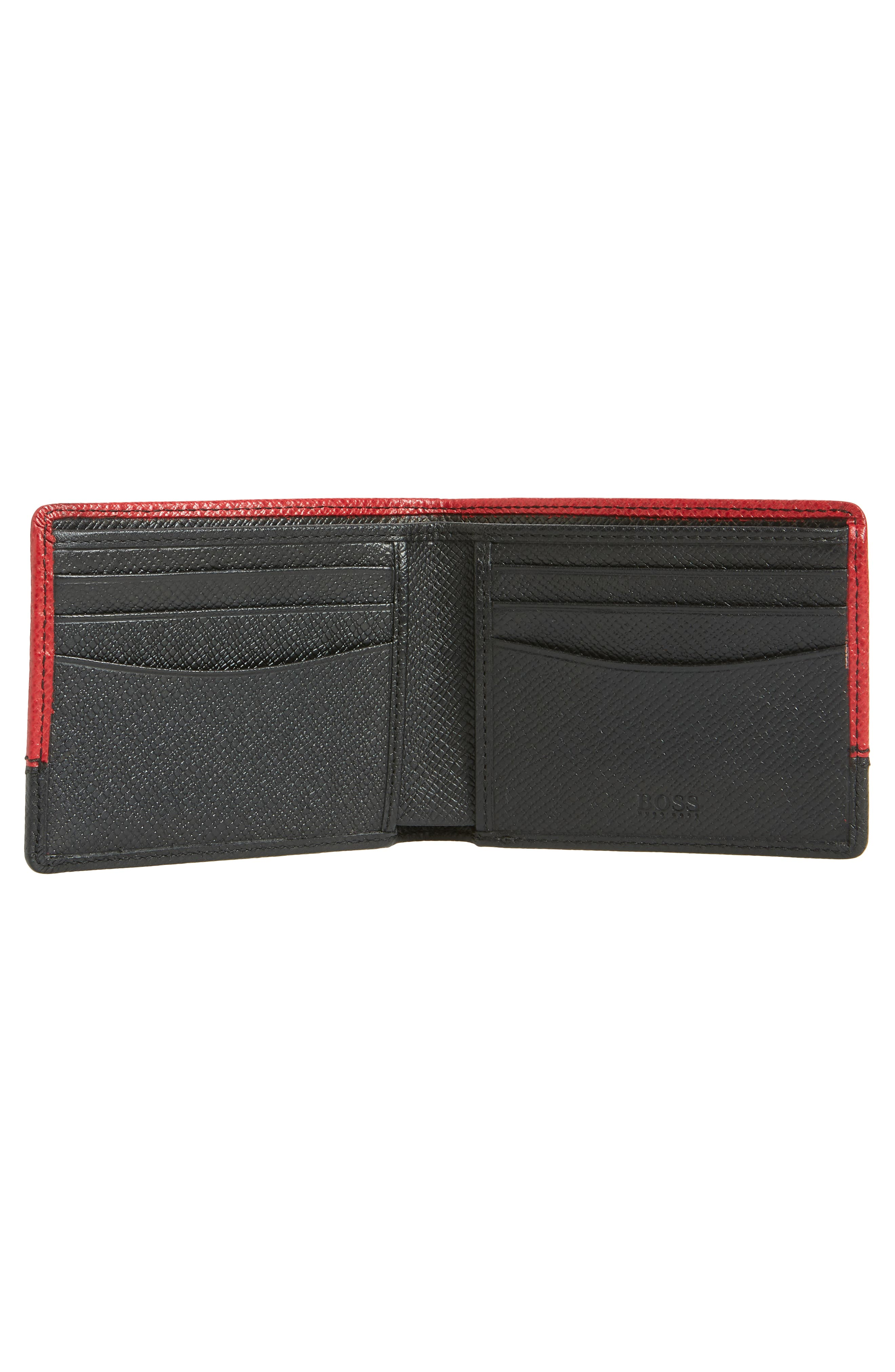 Embossed Leather Wallet,                             Alternate thumbnail 2, color,                             DARK RED