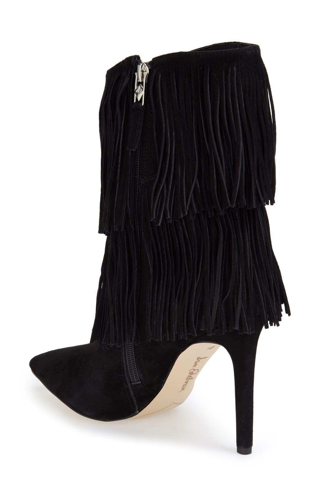 'Belinda' Fringed Suede Pointy Toe Boot,                             Alternate thumbnail 2, color,                             002