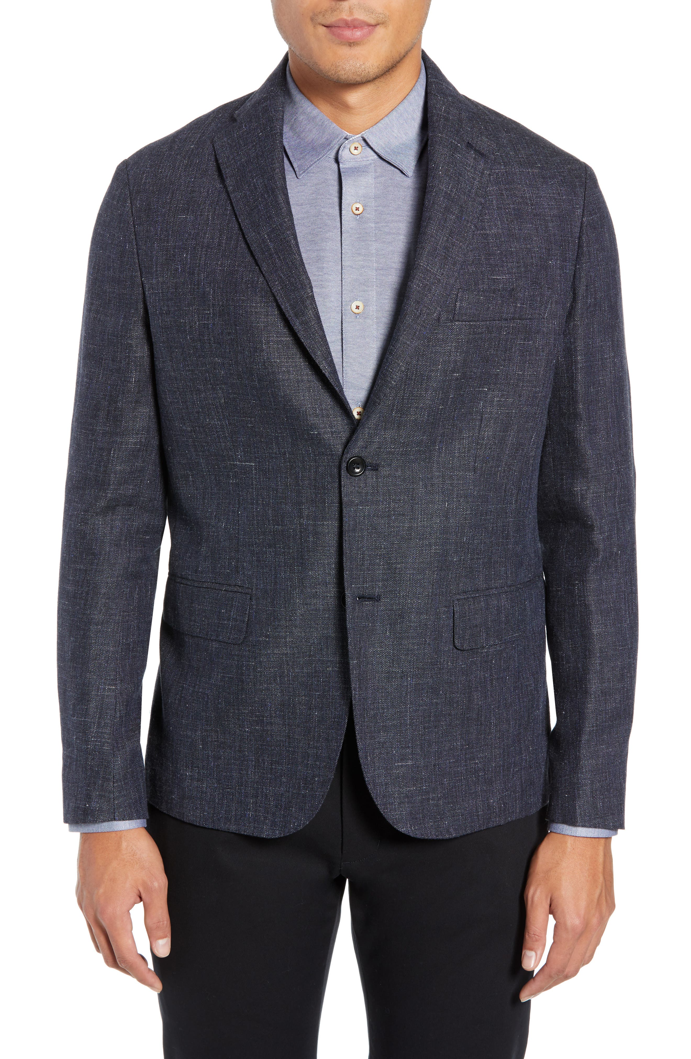 Slim Fit Unconstructed Wool & Linen Blazer,                         Main,                         color, 410