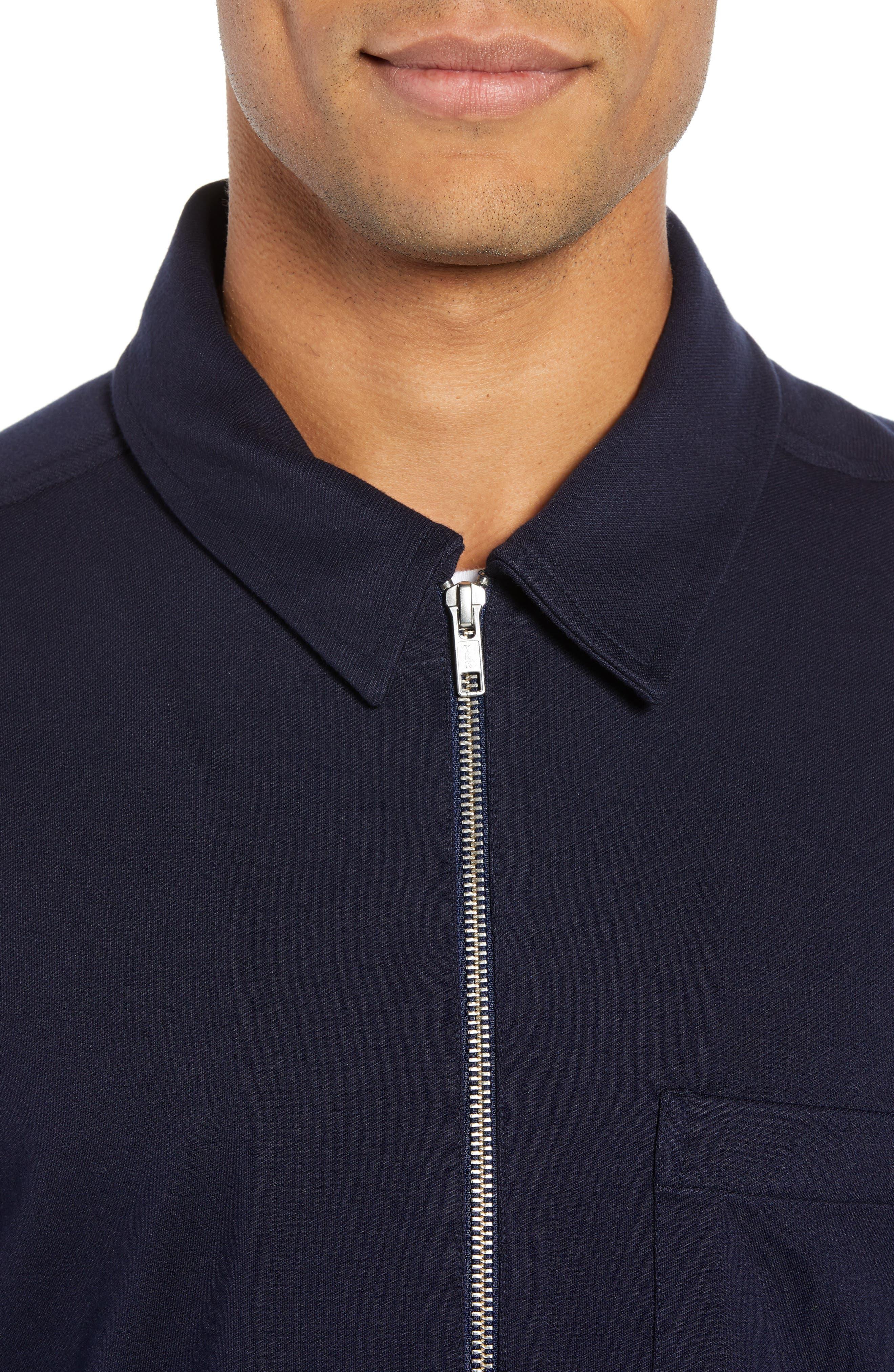 Zip Front Shirt Jacket,                             Alternate thumbnail 4, color,                             NAVY NIGHT