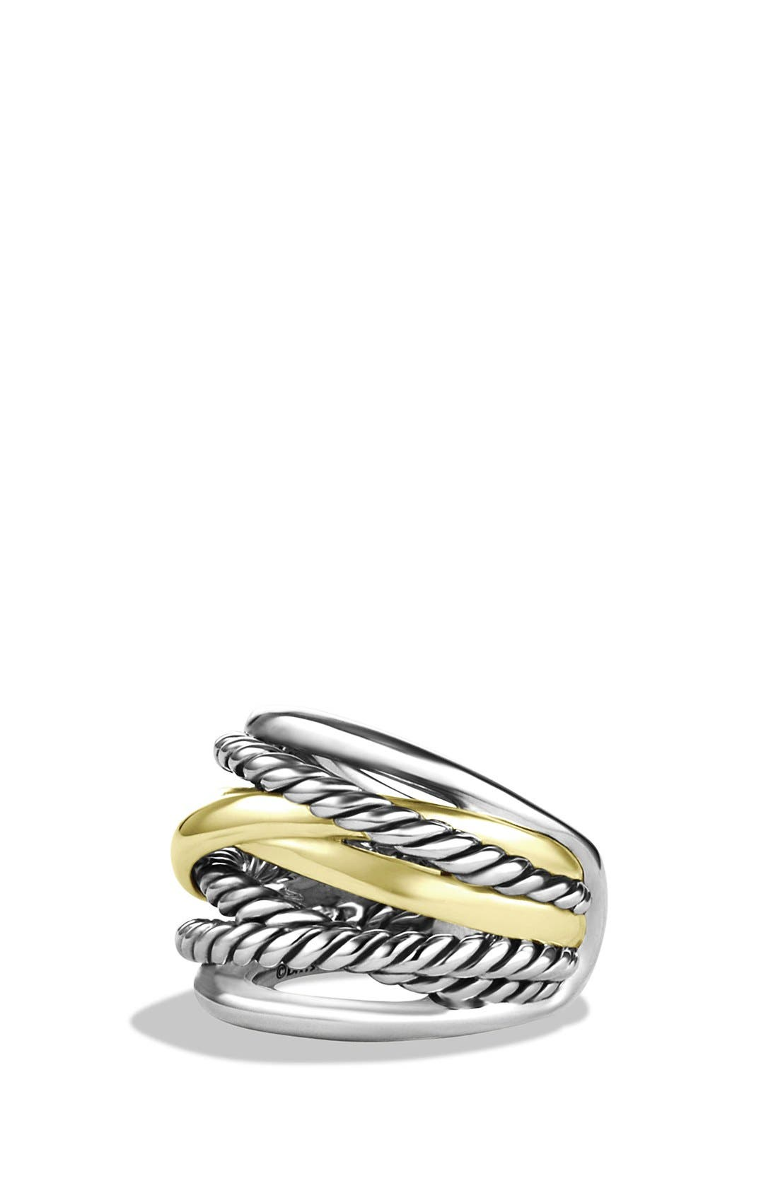 'Crossover' Wide Ring with Gold,                             Main thumbnail 1, color,                             STERLING SILVER/ 14K GOLD