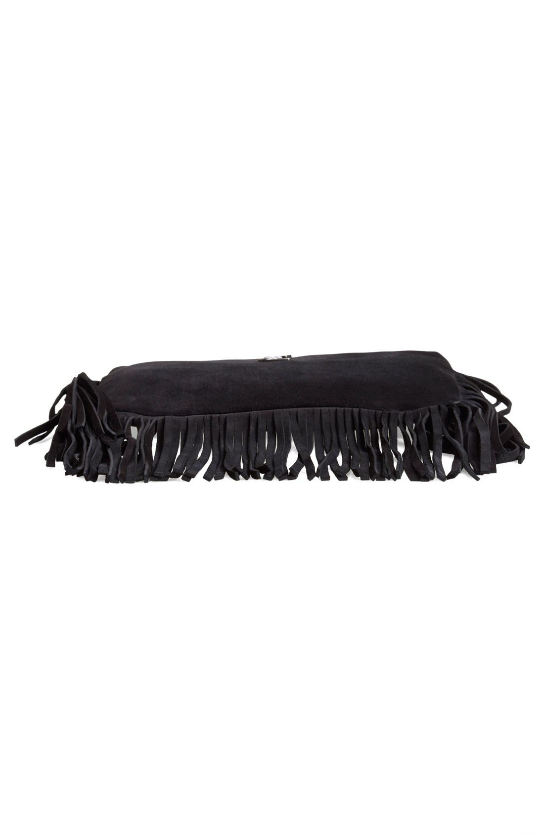 Fringe Suede Crossbody Bag,                             Alternate thumbnail 6, color,                             001