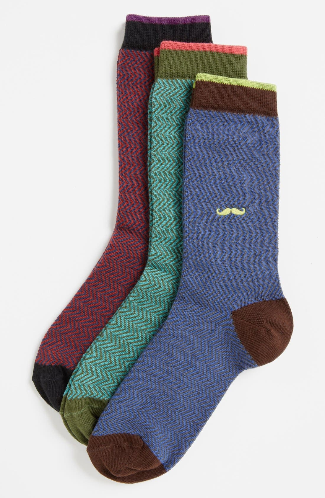 Nordstrom Herringbone 3-Pack Crew Socks,                         Main,                         color, BLUE MULTI