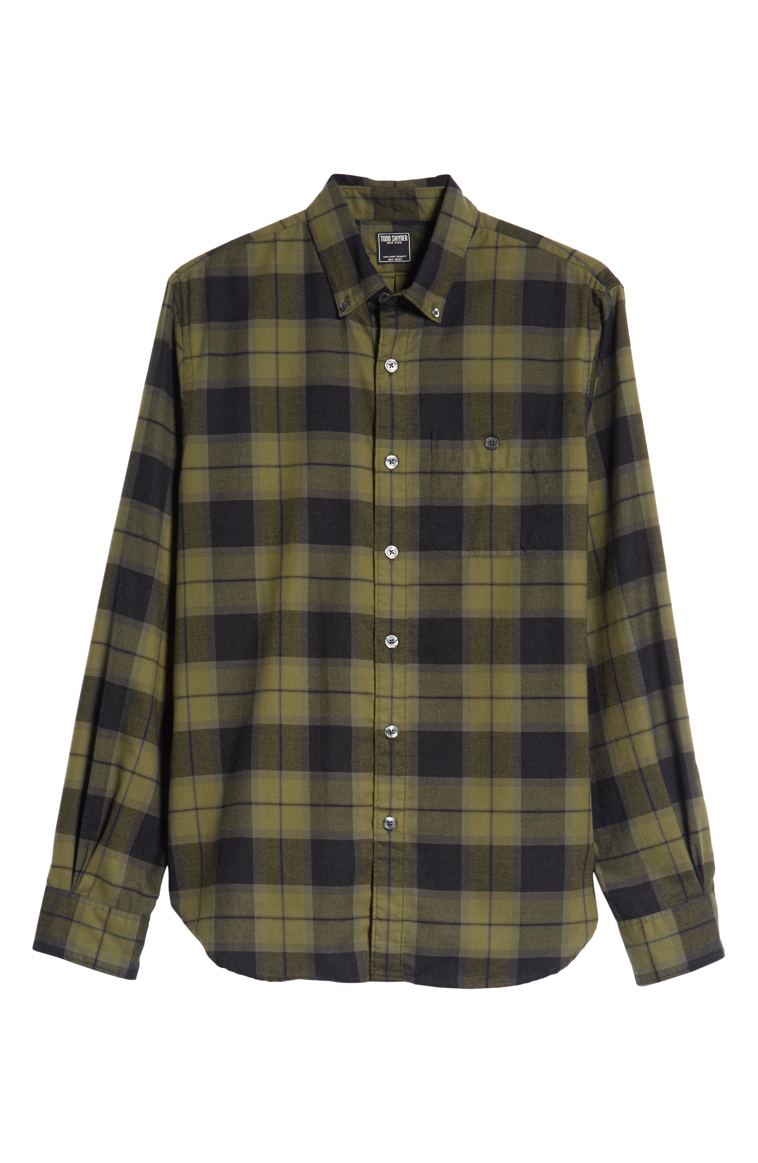 Classic Fit Plaid Flannel Sport Shirt,                             Alternate thumbnail 5, color,                             OLIVE
