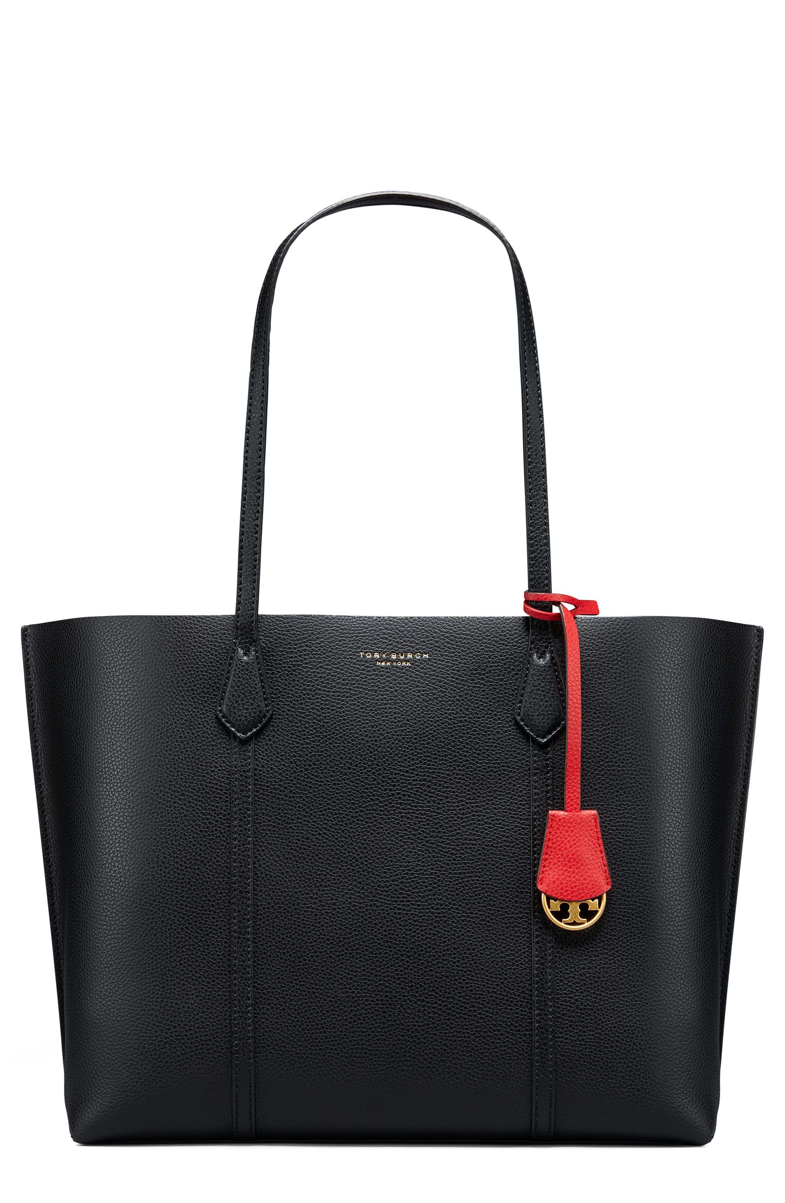 TORY BURCH Perry Leather 13-Inch Laptop Tote, Main, color, BLACK