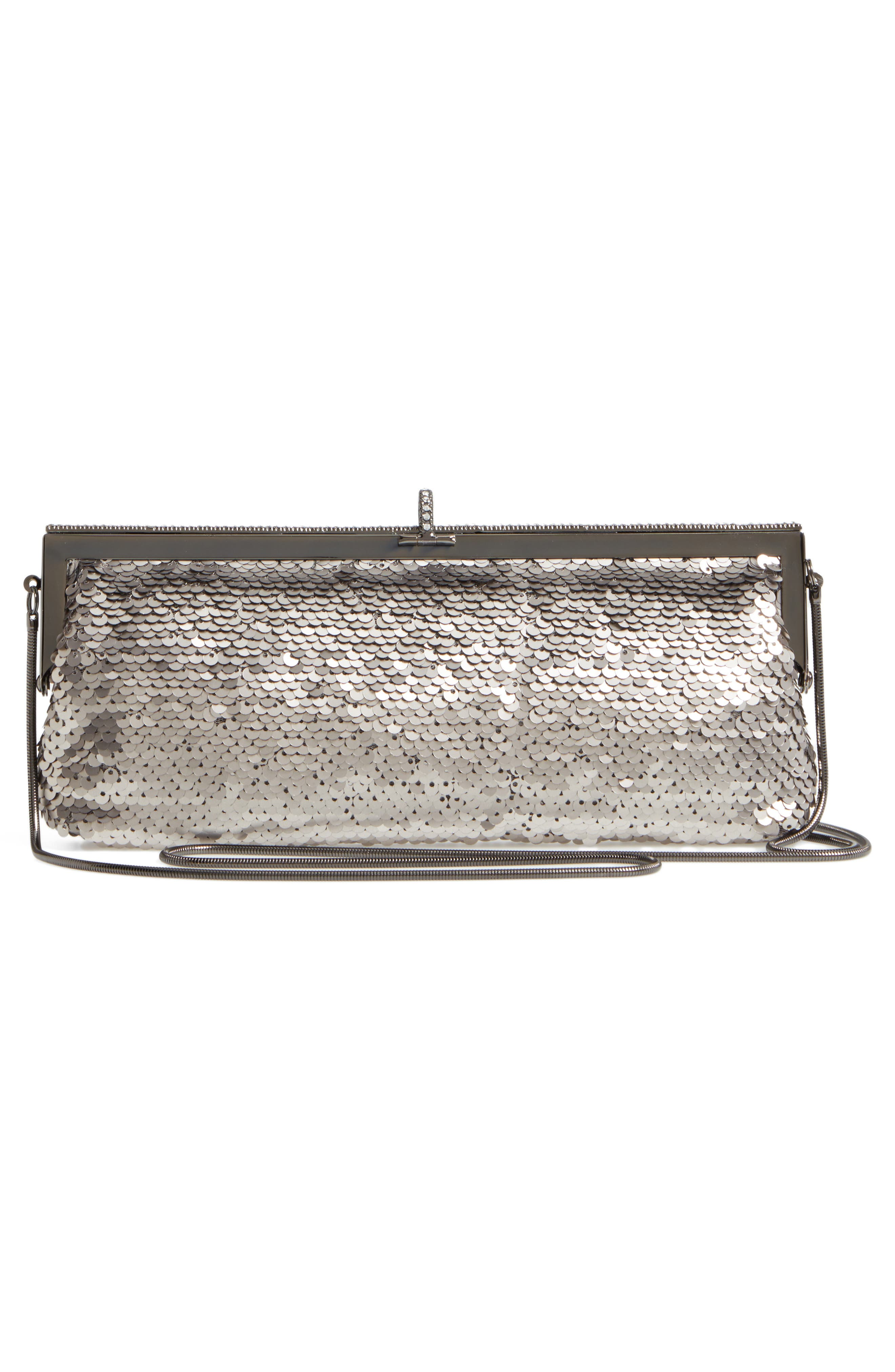 Badgley Mischka Dazzle Sequin Frame Clutch,                             Alternate thumbnail 3, color,                             040