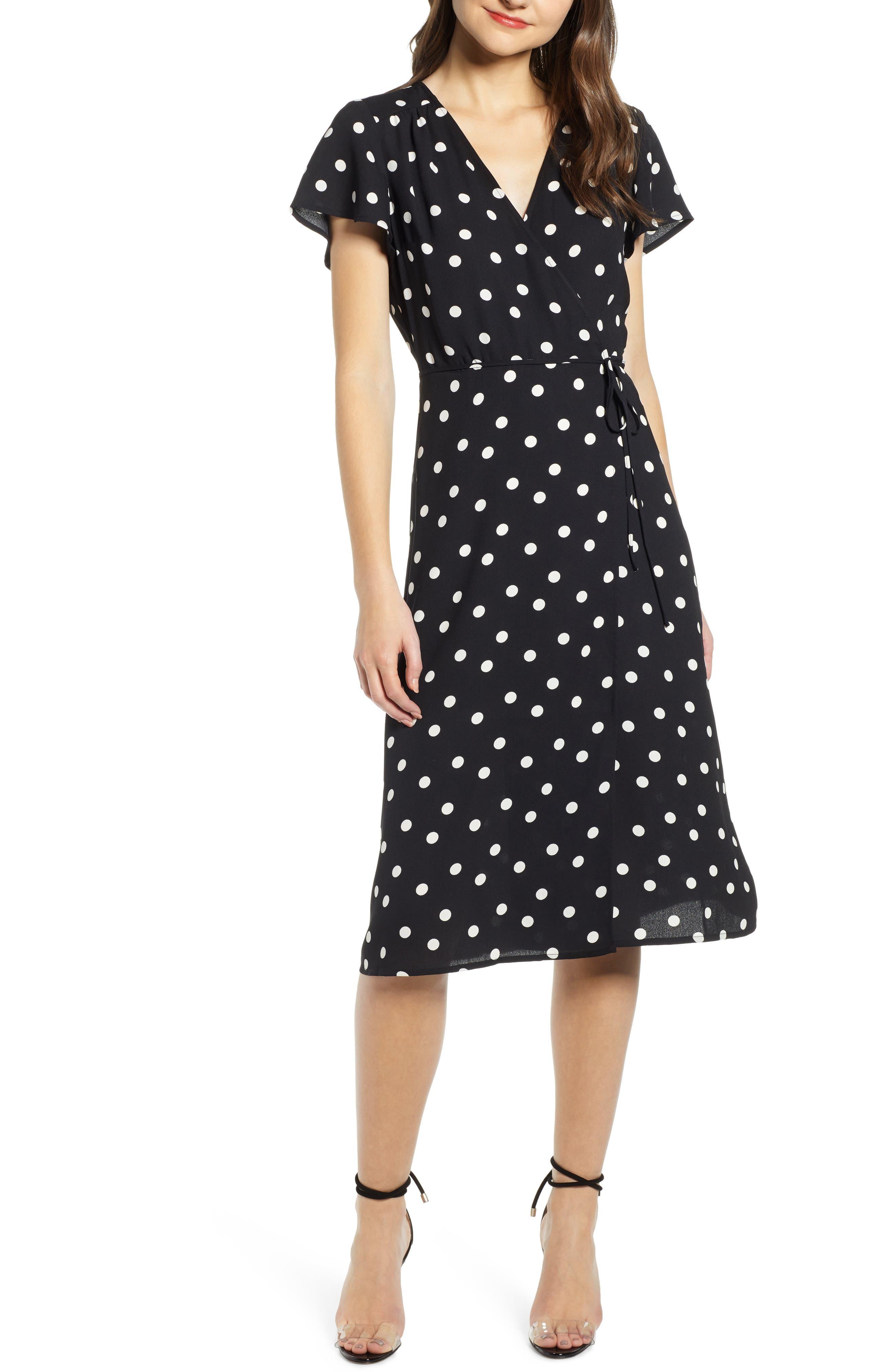 Leith Midi Wrap Dress, Black
