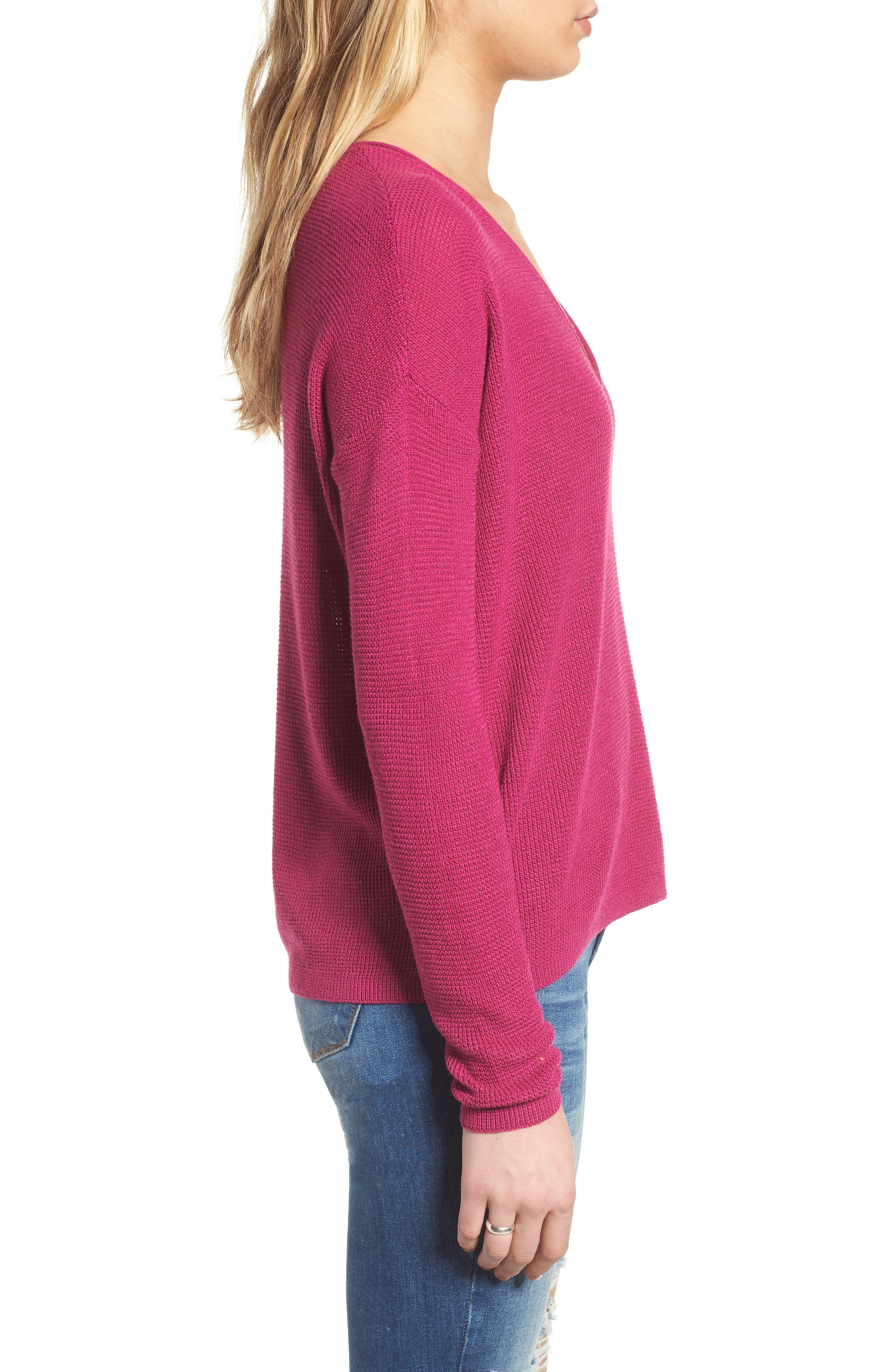 Textured Stitch V-Neck Pullover,                             Alternate thumbnail 3, color,                             651