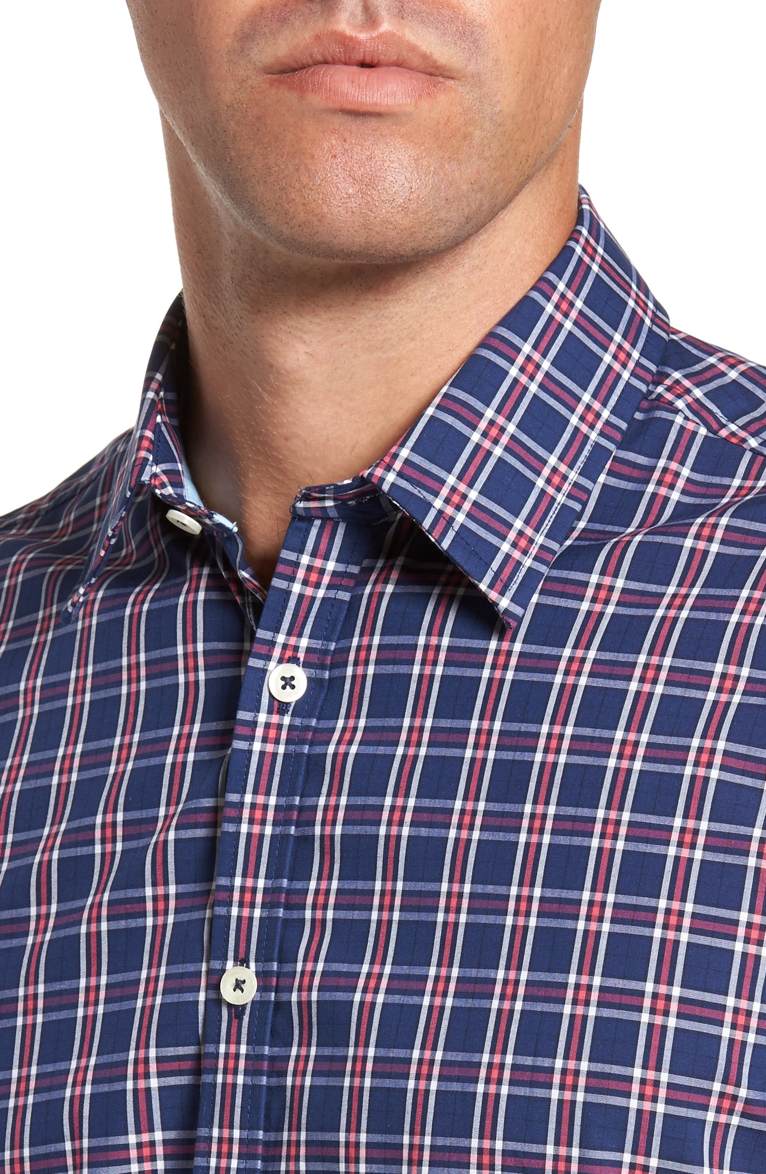 Slim Fit Plaid Sport Shirt,                             Alternate thumbnail 4, color,                             412