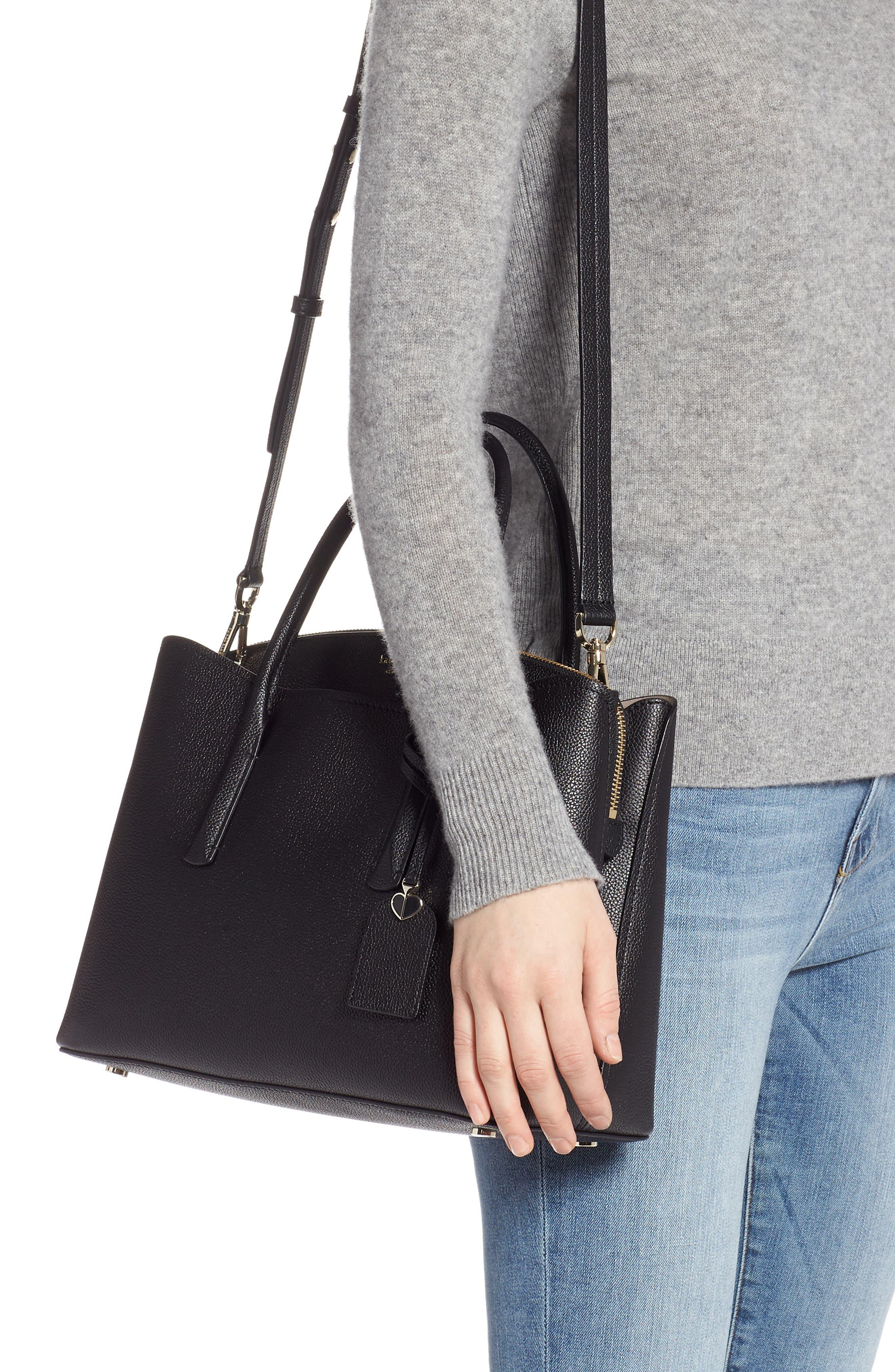 KATE SPADE NEW YORK,                             large margaux leather satchel,                             Alternate thumbnail 2, color,                             BLACK