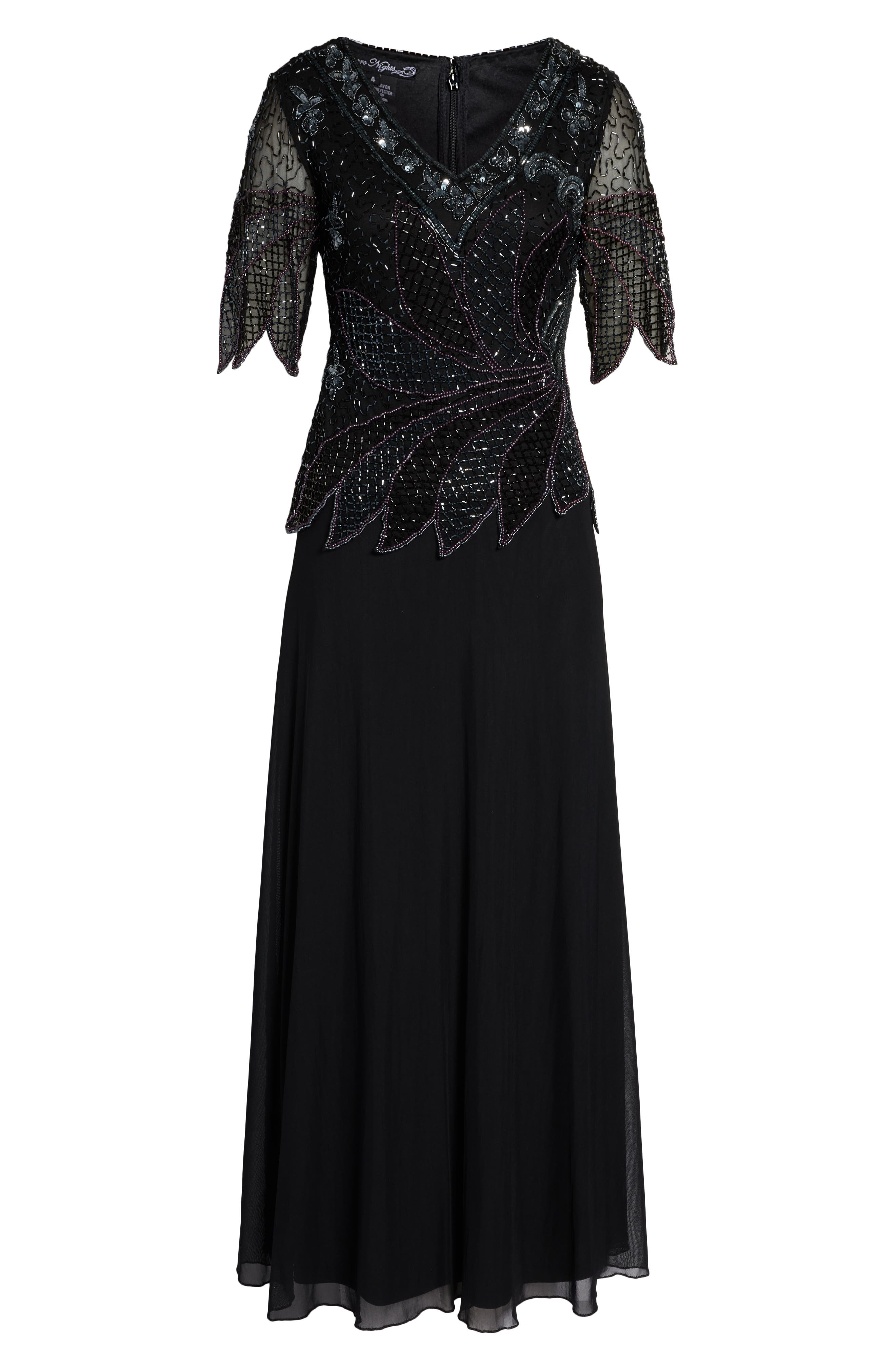 Beaded Mock Two-Piece Gown,                             Alternate thumbnail 7, color,                             BLACK
