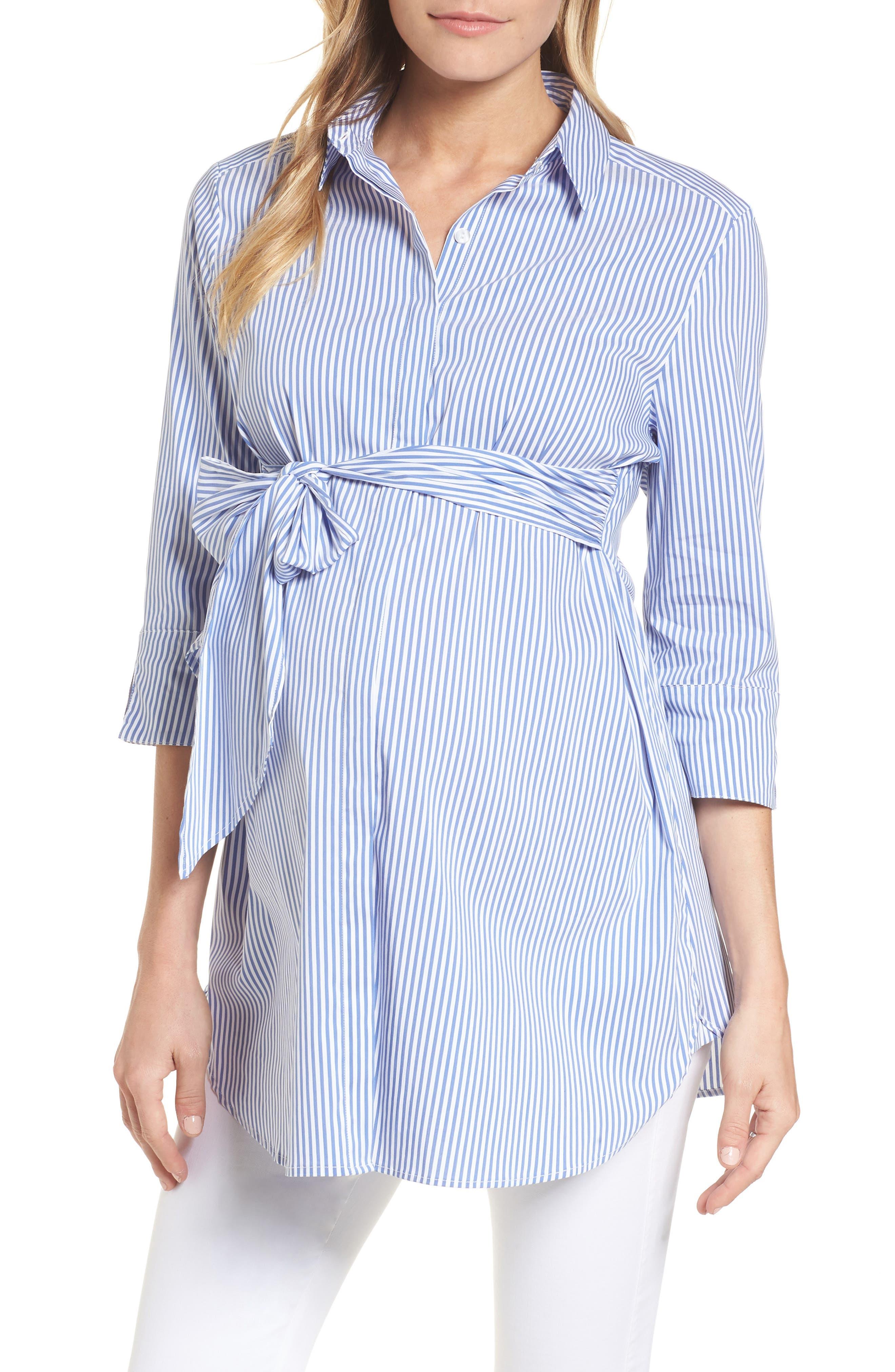 Dora Tie Front Maternity Shirt,                             Main thumbnail 1, color,                             BLUE/WHITE STRIPE
