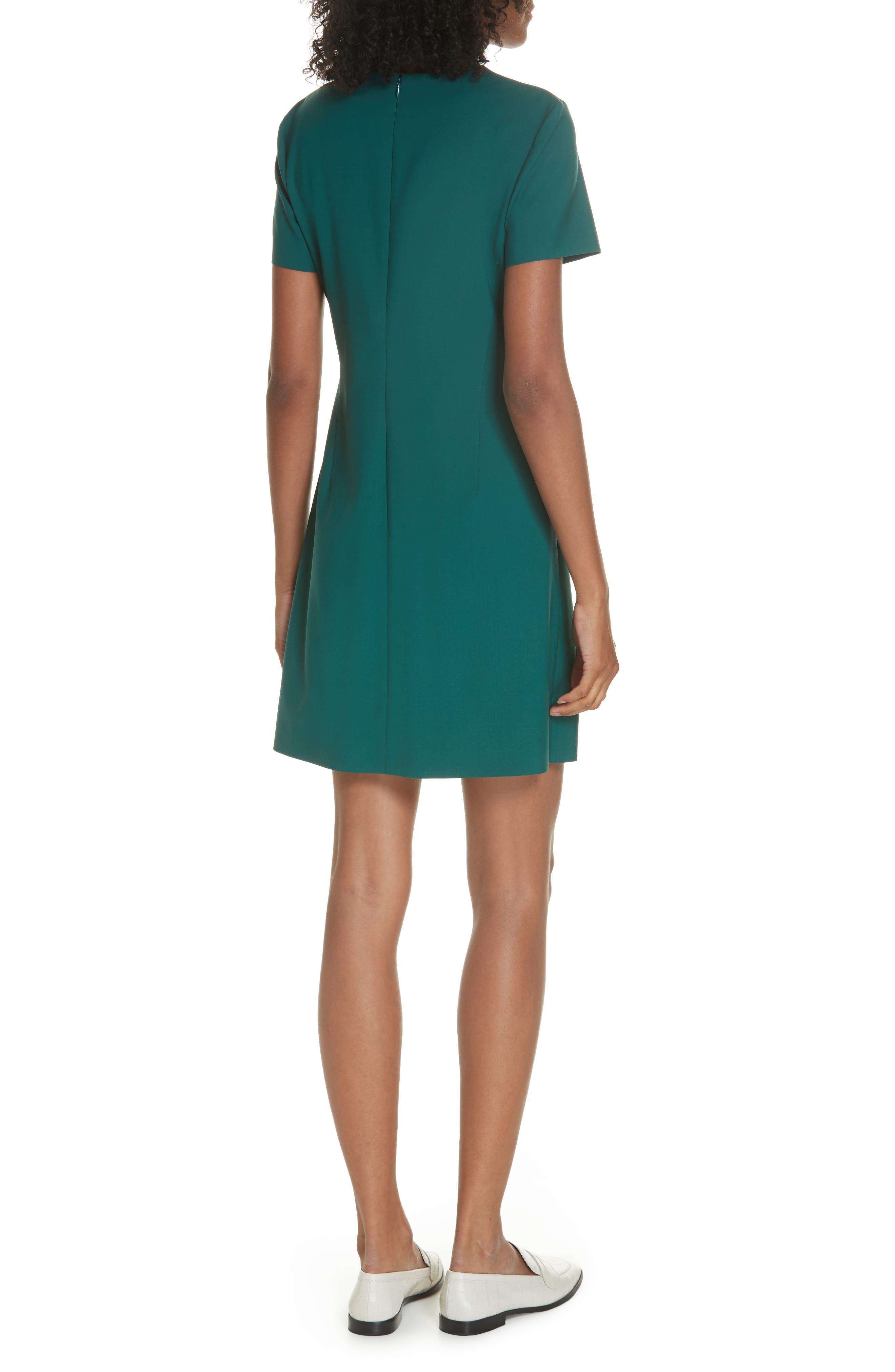 Stretch Wool A-Line Dress,                             Alternate thumbnail 2, color,                             BRIGHT POPLAR