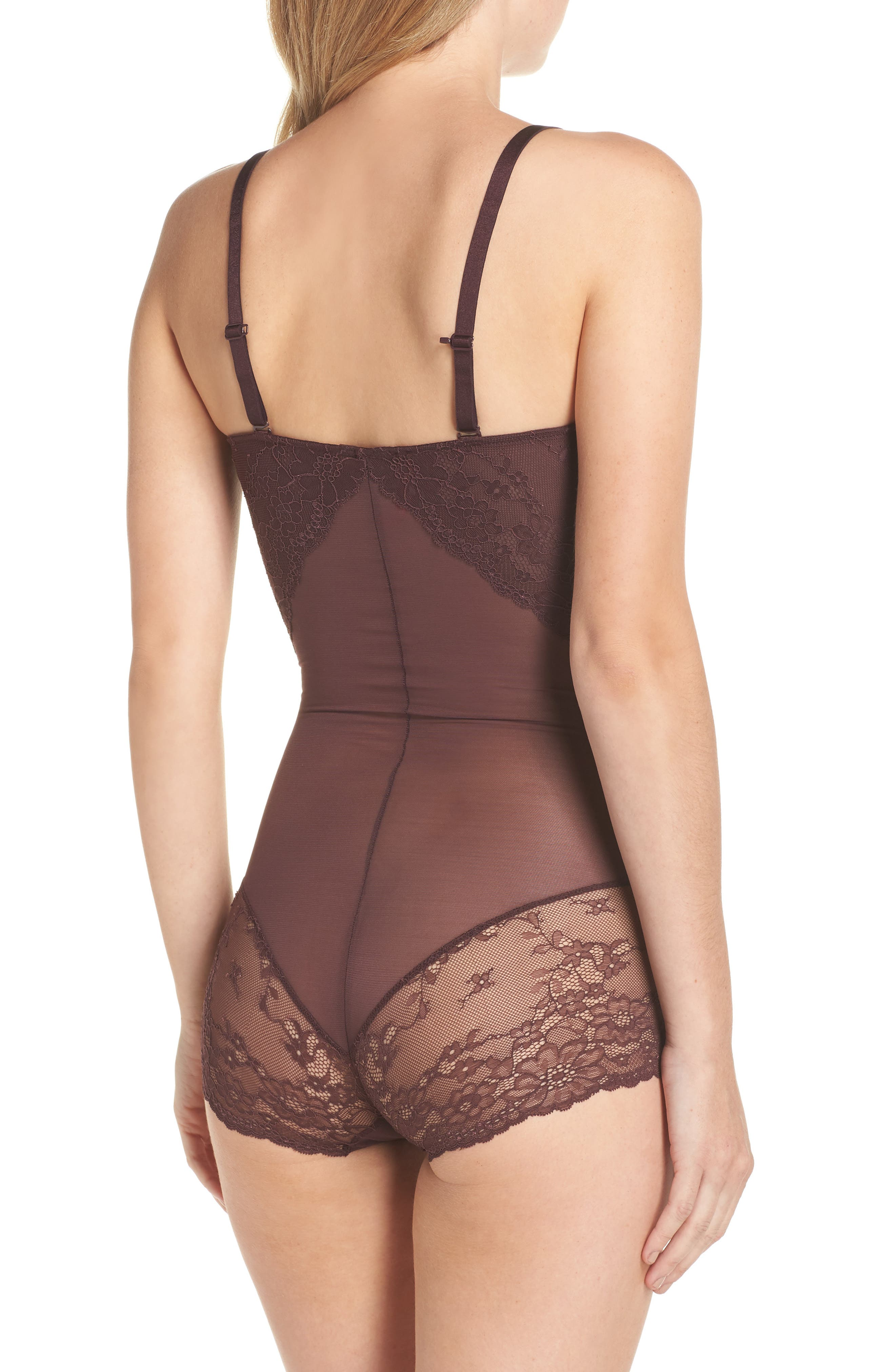 Spotlight On Lace Bodysuit,                             Alternate thumbnail 3, color,                             GARNET