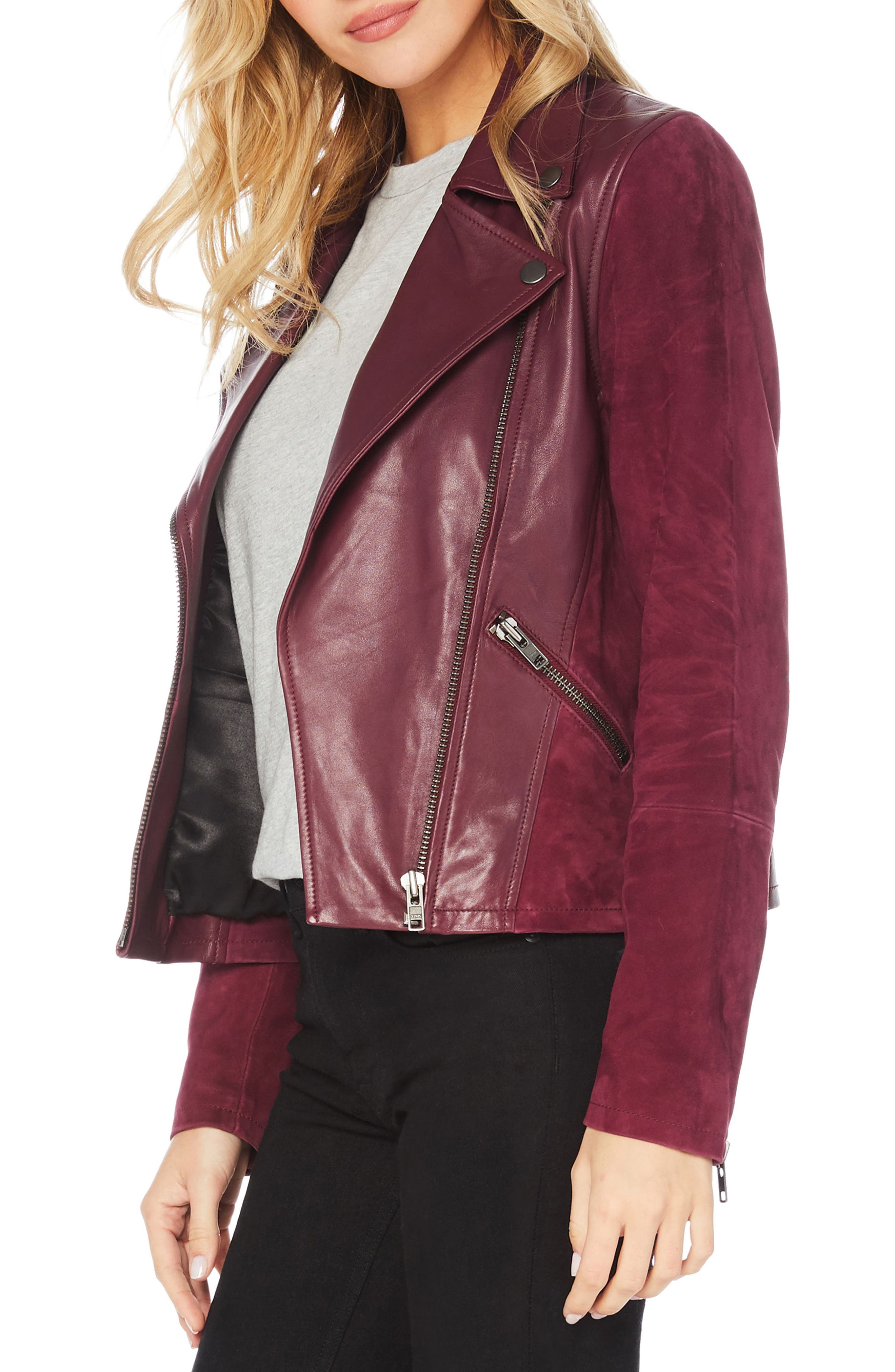 Leather & Suede Moto Jacket,                             Alternate thumbnail 3, color,                             PINOT