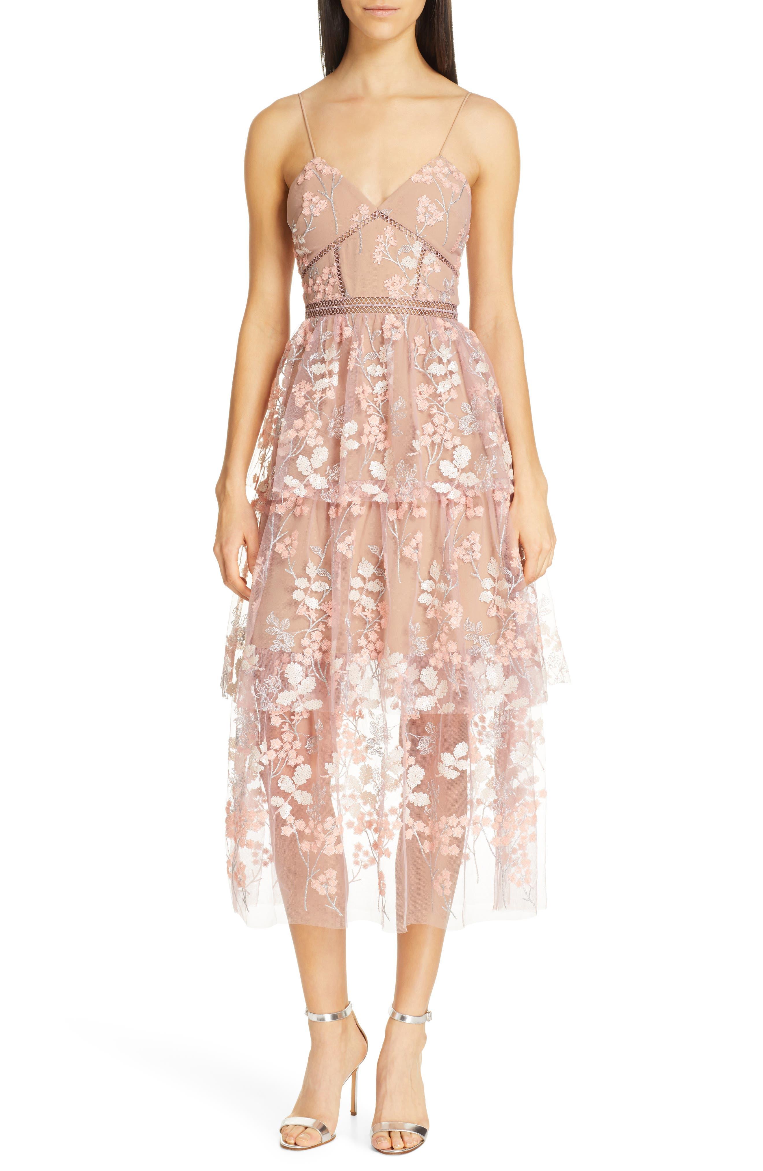Self-Portrait Embellished Floral Midi Dress, Pink