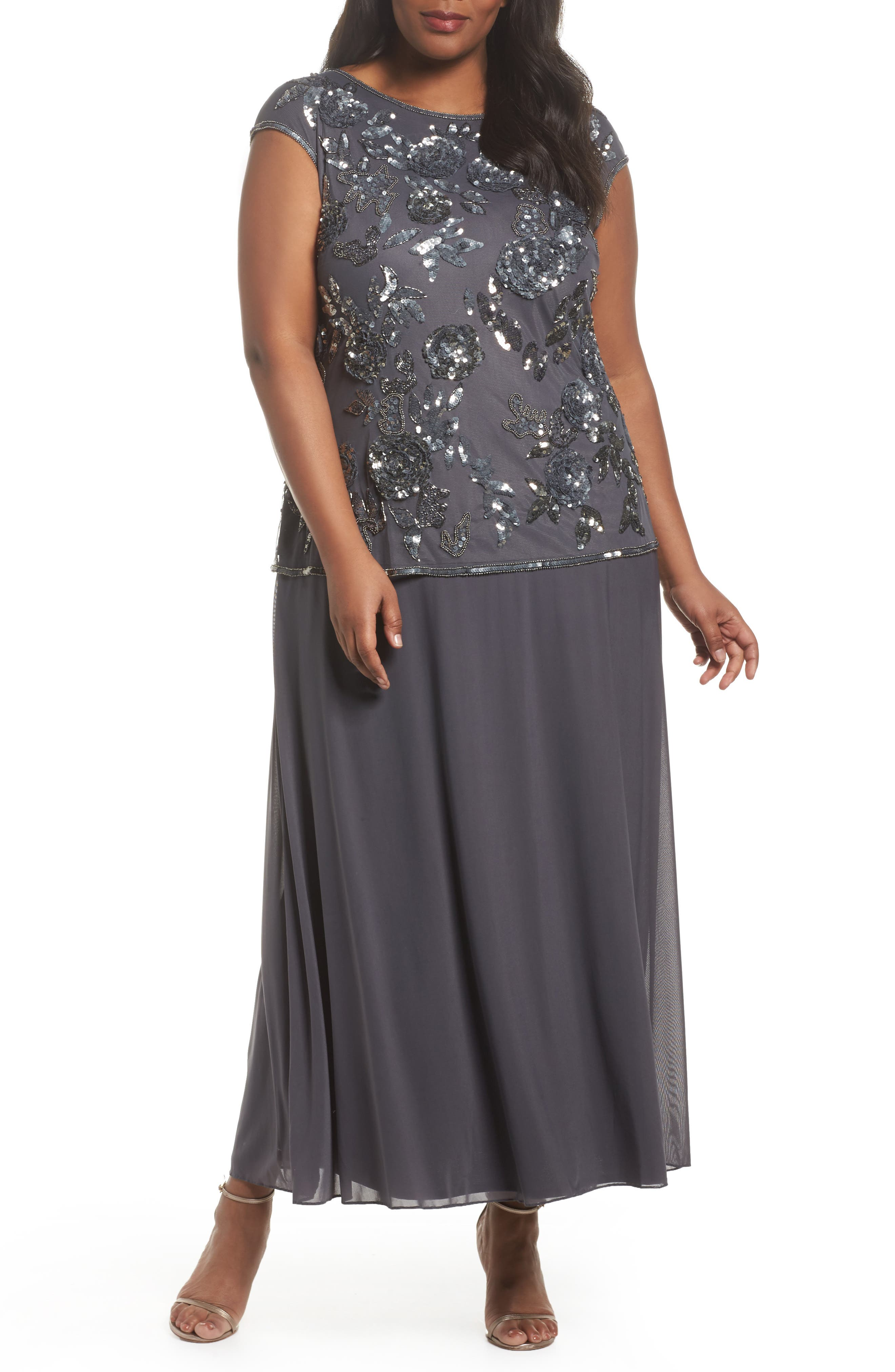 Embellished Mock Two-Piece Gown,                             Main thumbnail 1, color,