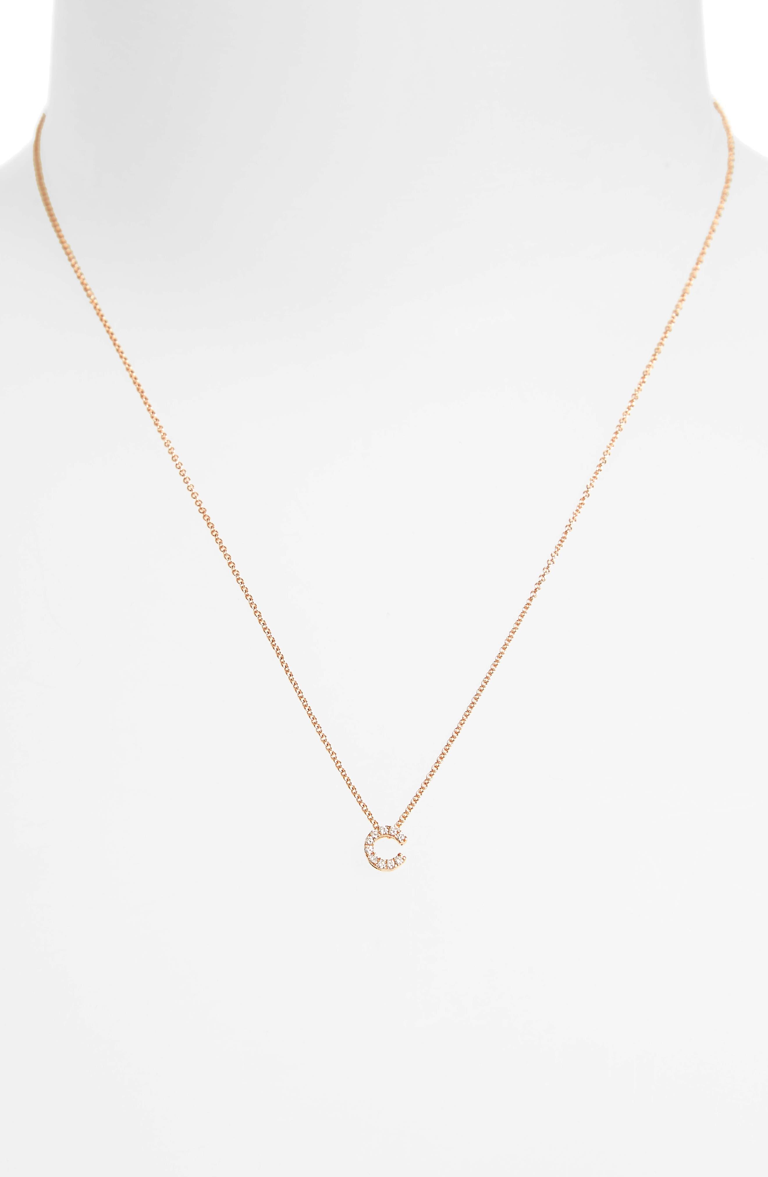 18k Gold Pavé Diamond Initial Pendant Necklace,                             Alternate thumbnail 2, color,                             ROSE GOLD - C