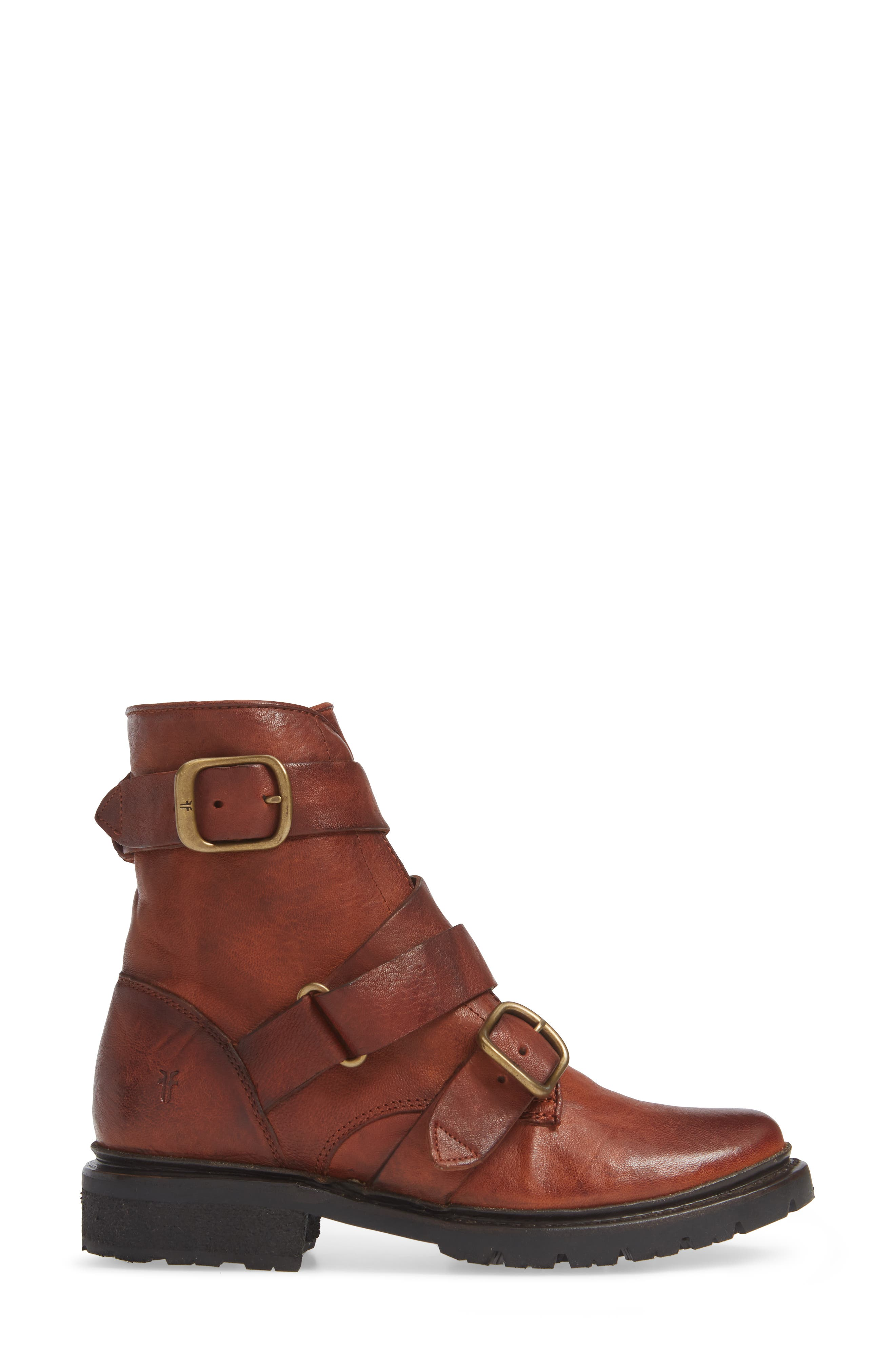 Vanessa Tanker Genuine Shearling Lined Boot,                             Alternate thumbnail 3, color,                             COGNAC LEATHER