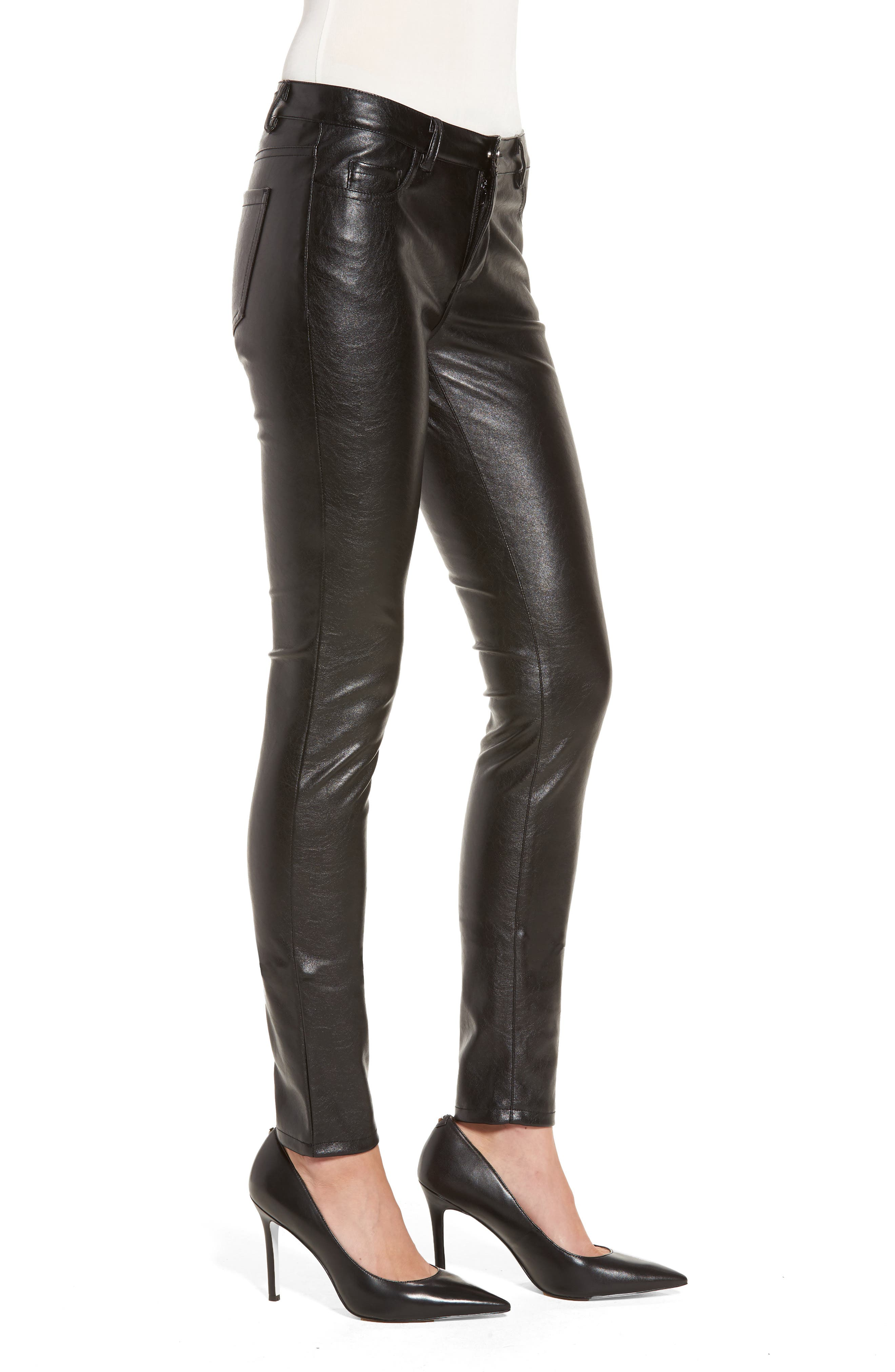 Skinny Classique Faux Leather Jeans,                             Alternate thumbnail 3, color,                             001
