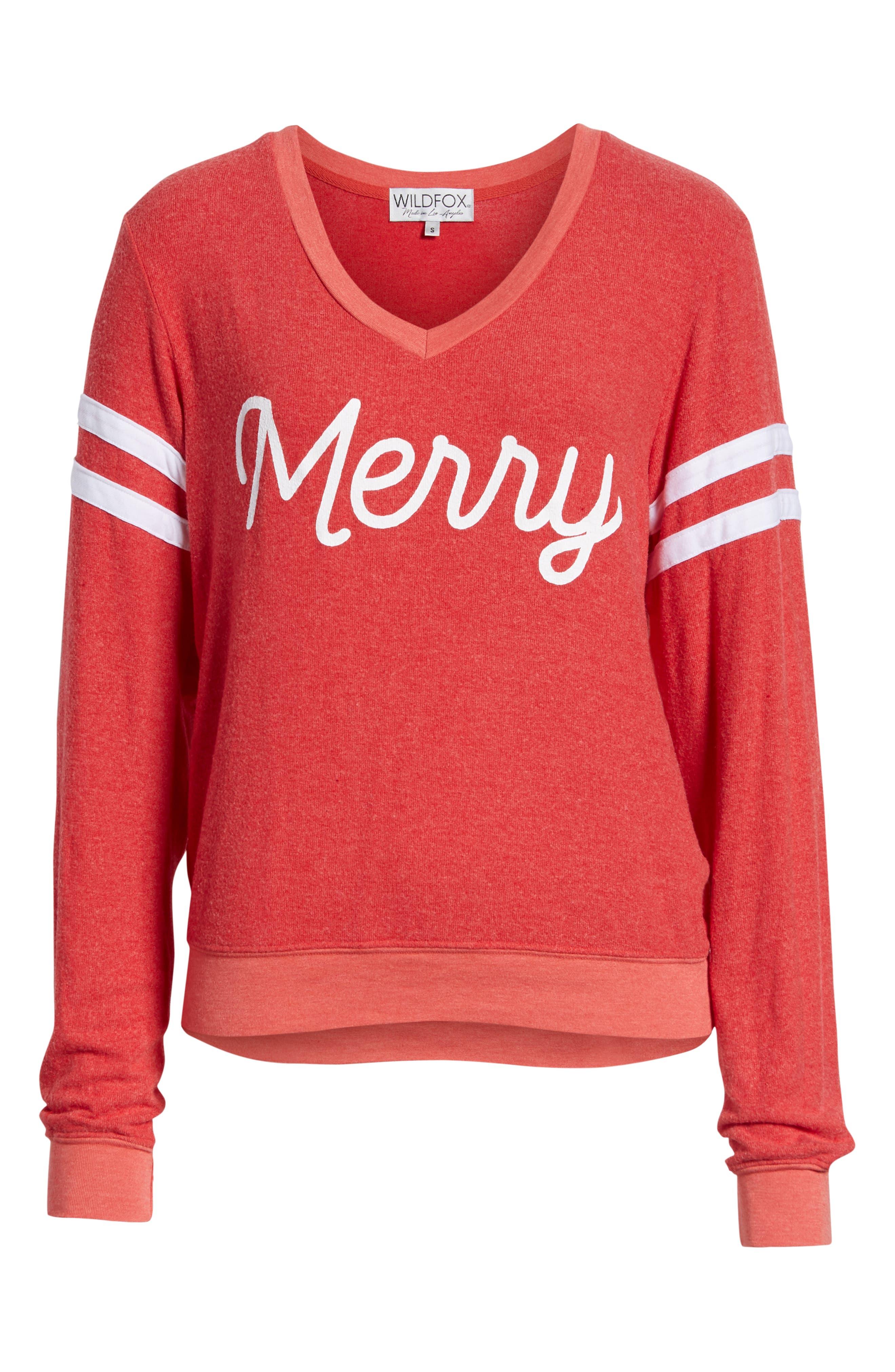 Merry Sport Baggy Beach V-Neck Pullover,                             Alternate thumbnail 6, color,                             SCARLET