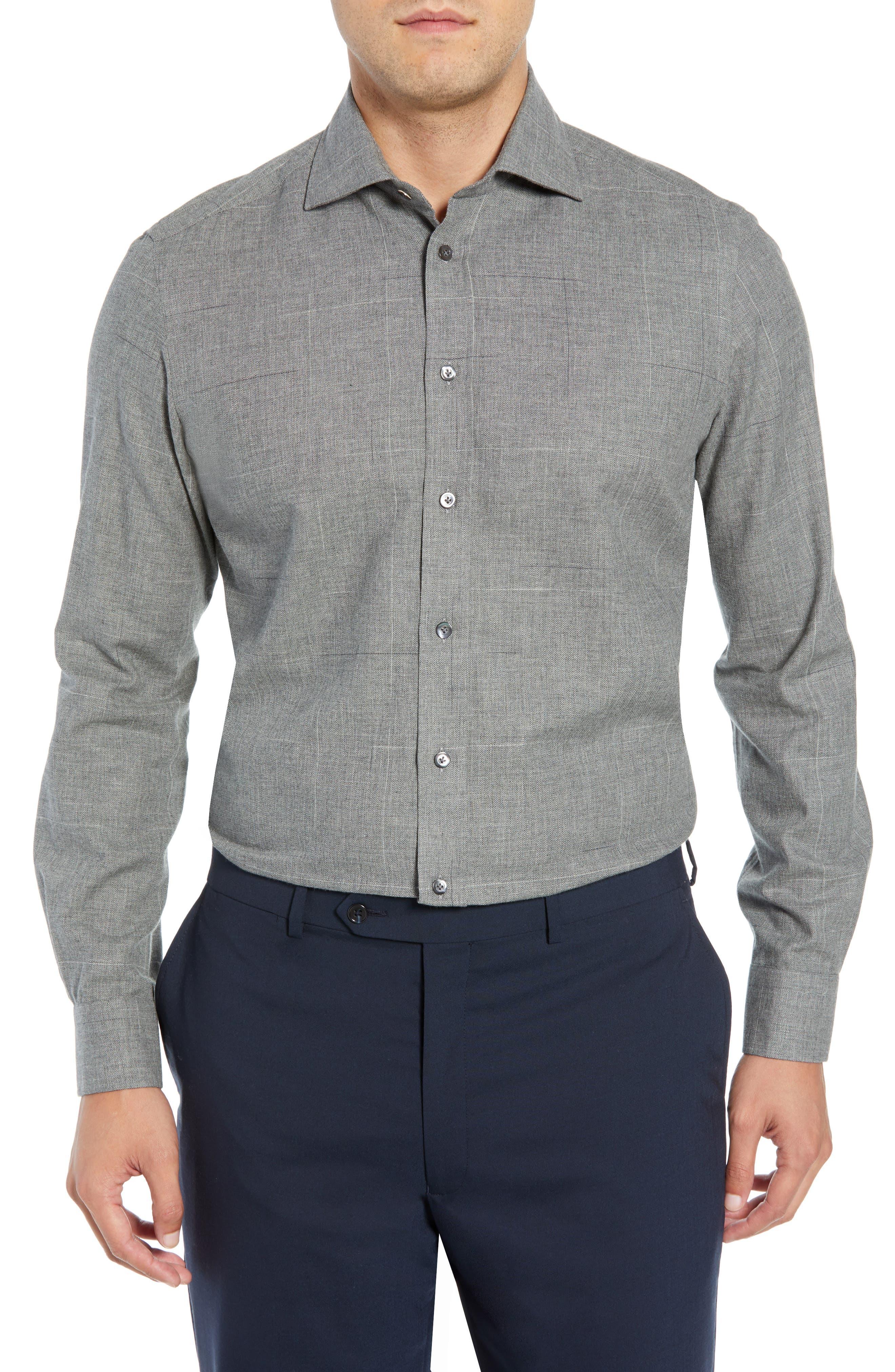 Slim Fit Herringbone Dress Shirt,                         Main,                         color, GREY