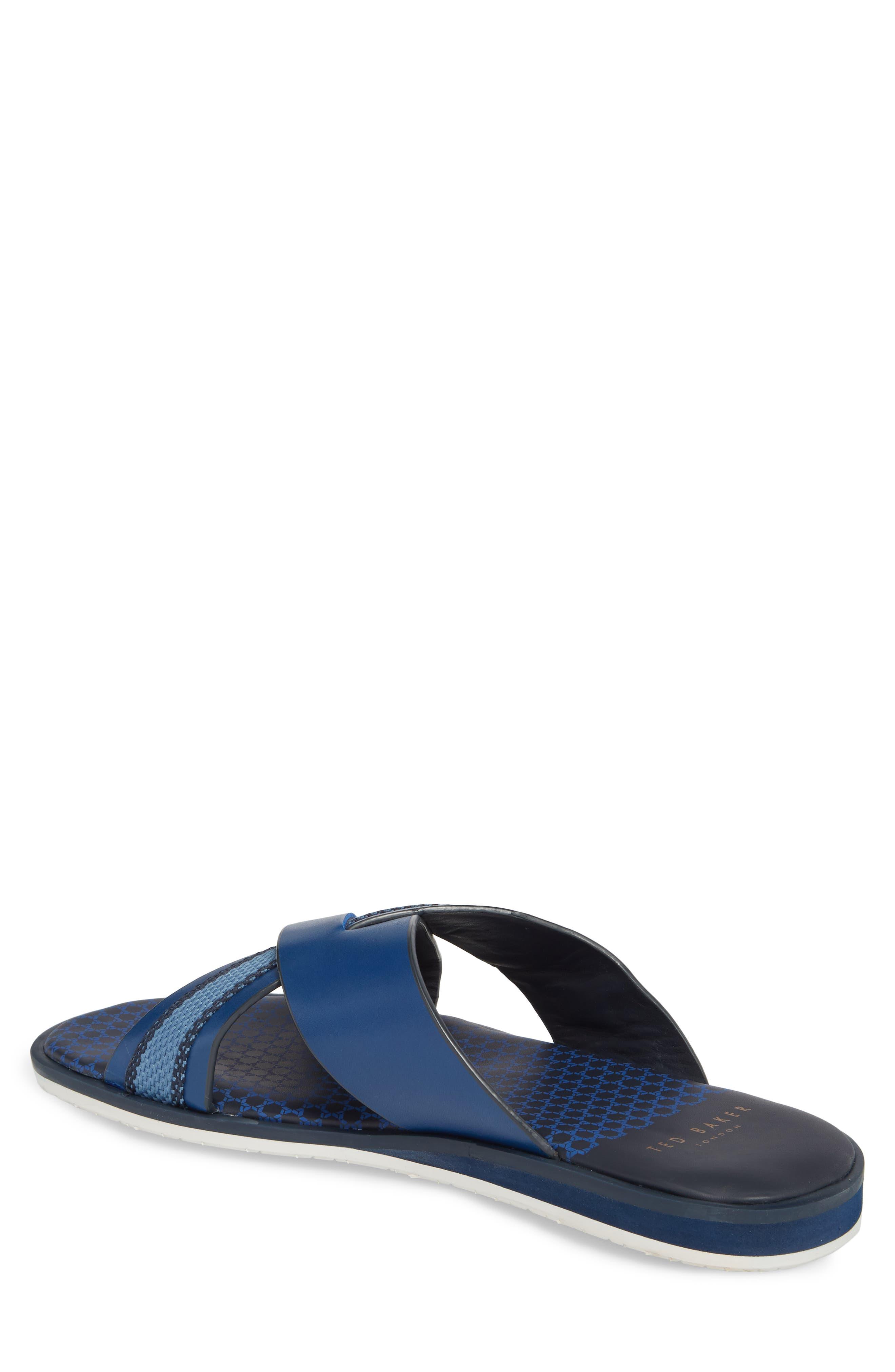 Farrull Cross Strap Slide Sandal,                             Alternate thumbnail 2, color,                             BLUE LEATHER/TEXTILE