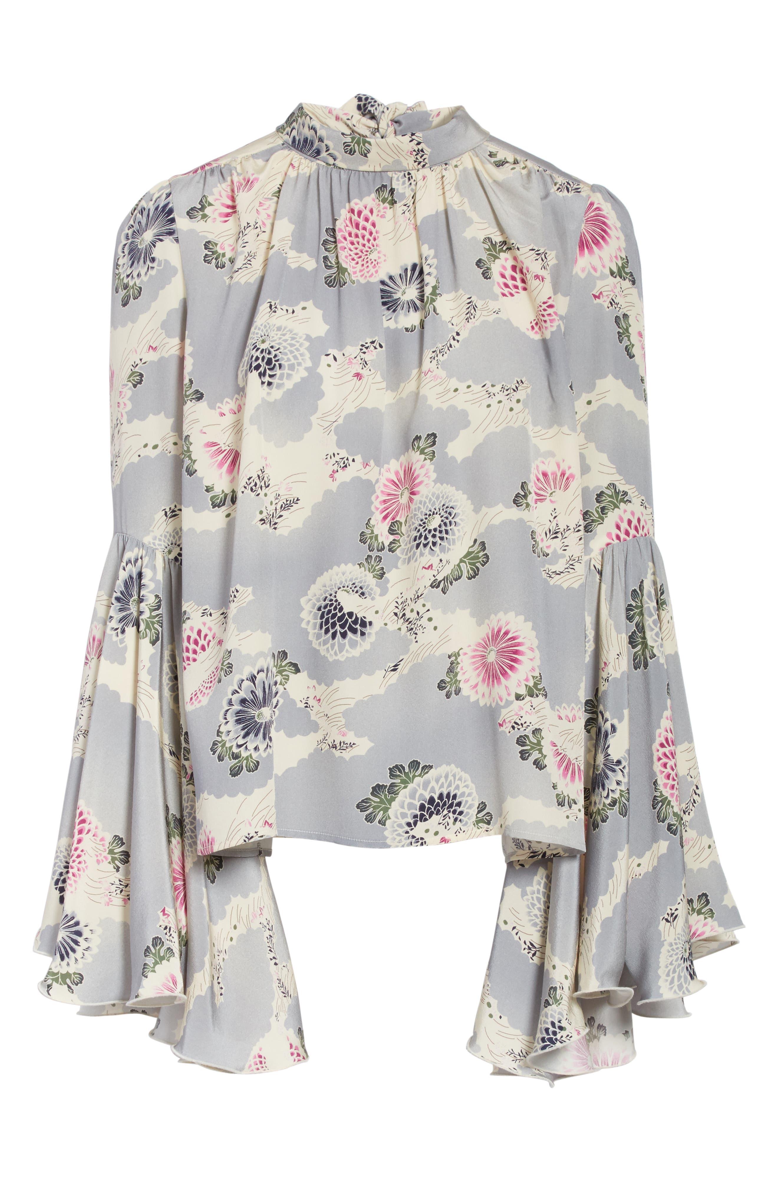 Flutter Sleeve Floral Print Silk Blouse,                             Alternate thumbnail 6, color,                             020
