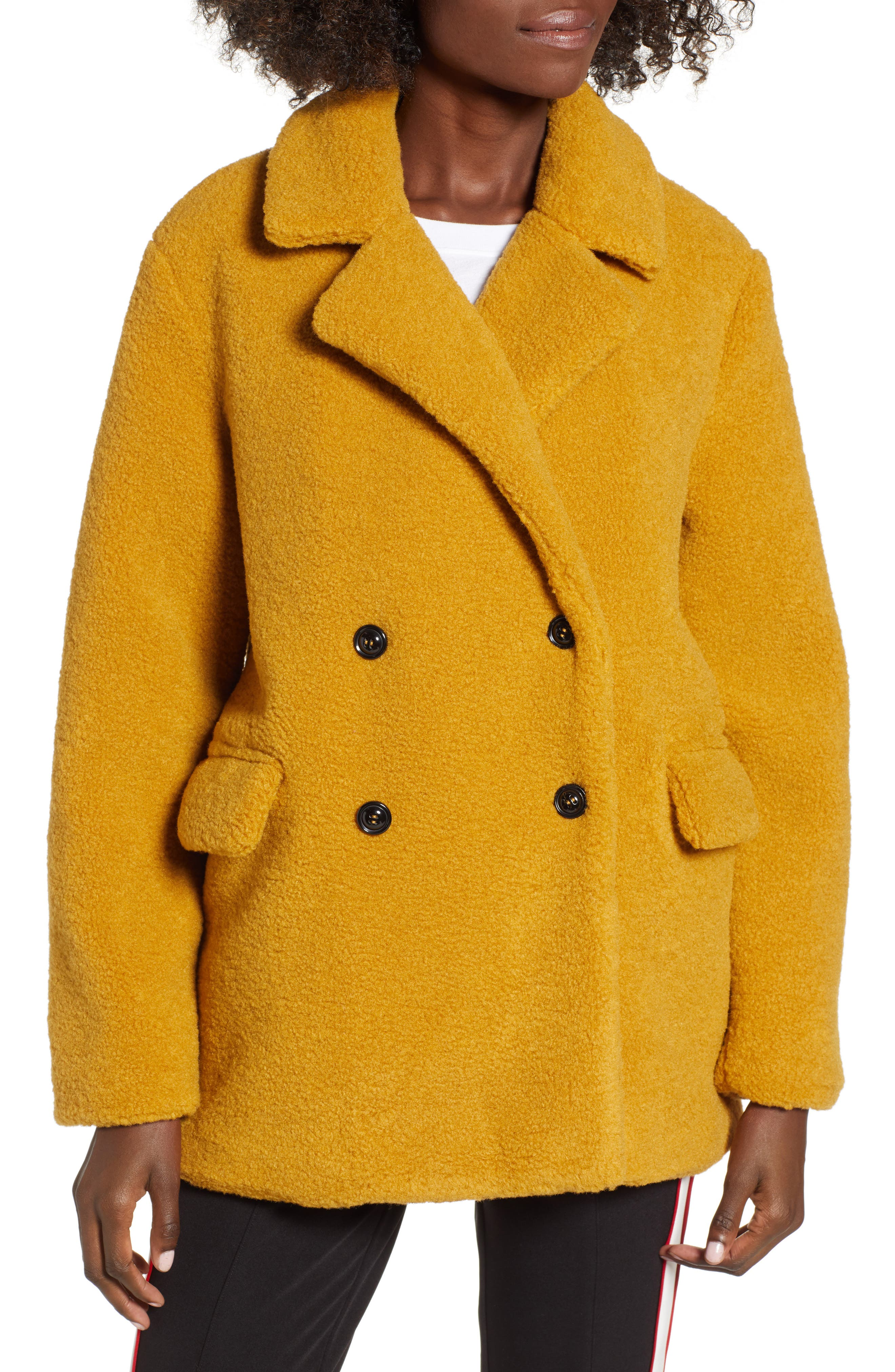 Textured Double Breasted Coat,                             Alternate thumbnail 4, color,                             YELLOW MINERAL