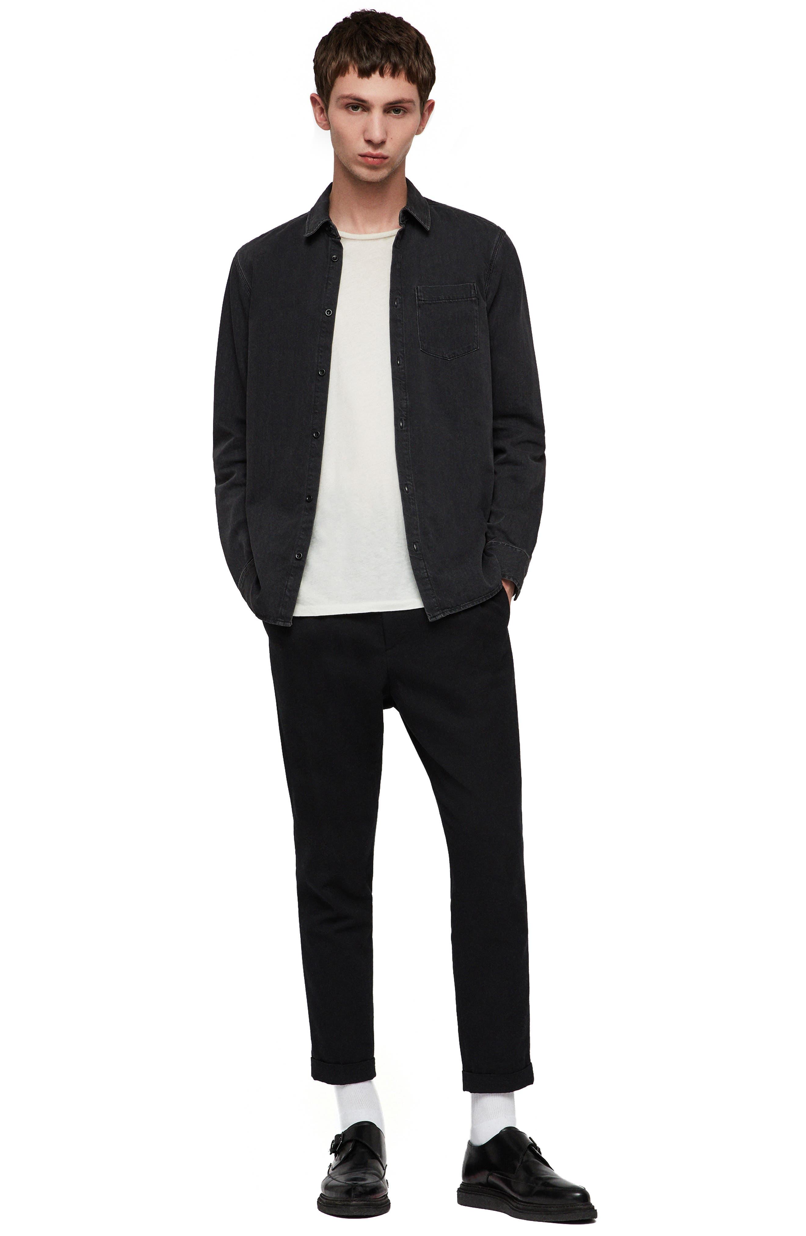 Brenner Denim Slim Fit Sport Shirt,                             Alternate thumbnail 4, color,                             BLACK