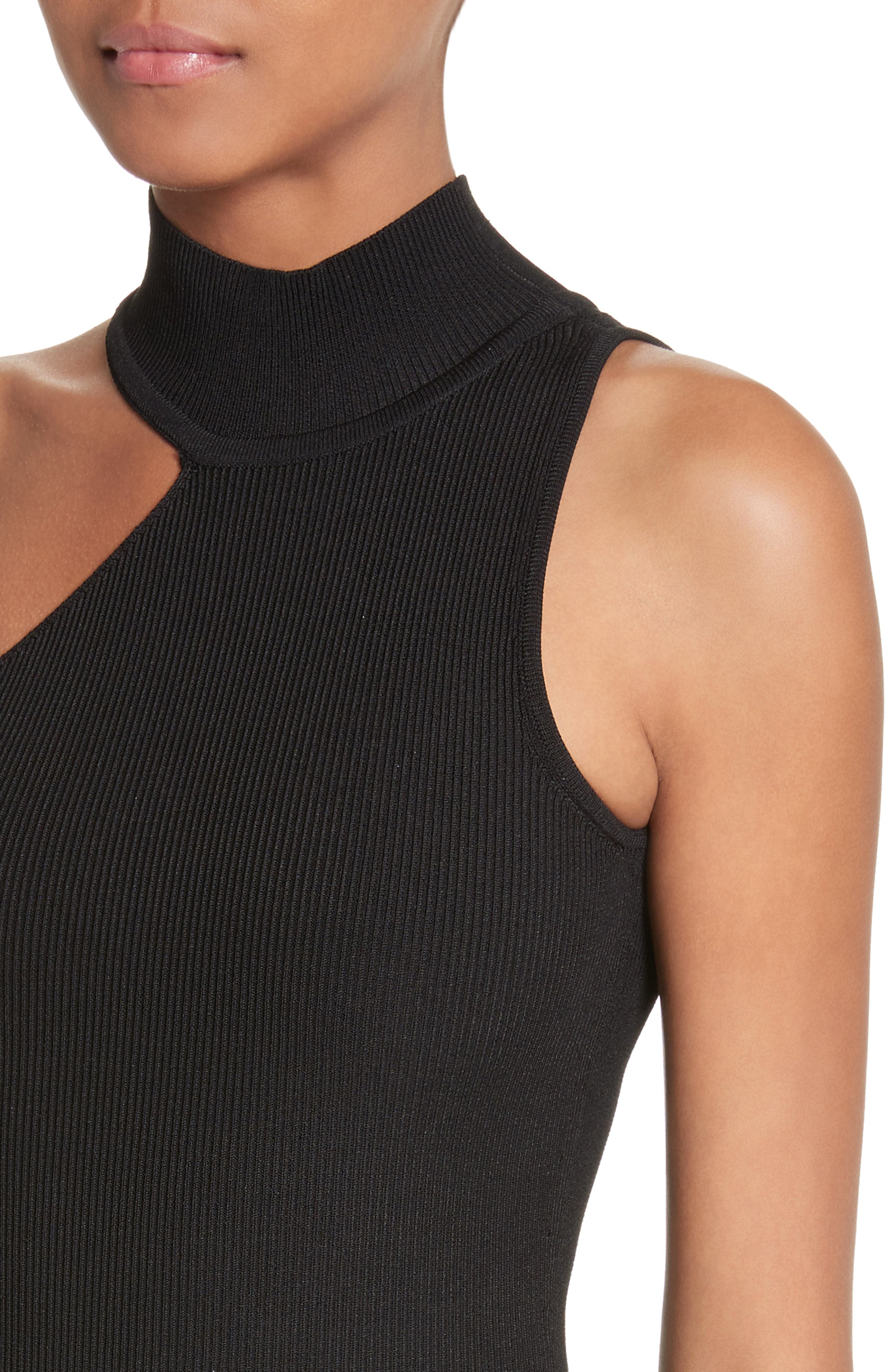 Vika One-Shoulder Knit Flare Dress,                             Alternate thumbnail 4, color,                             001