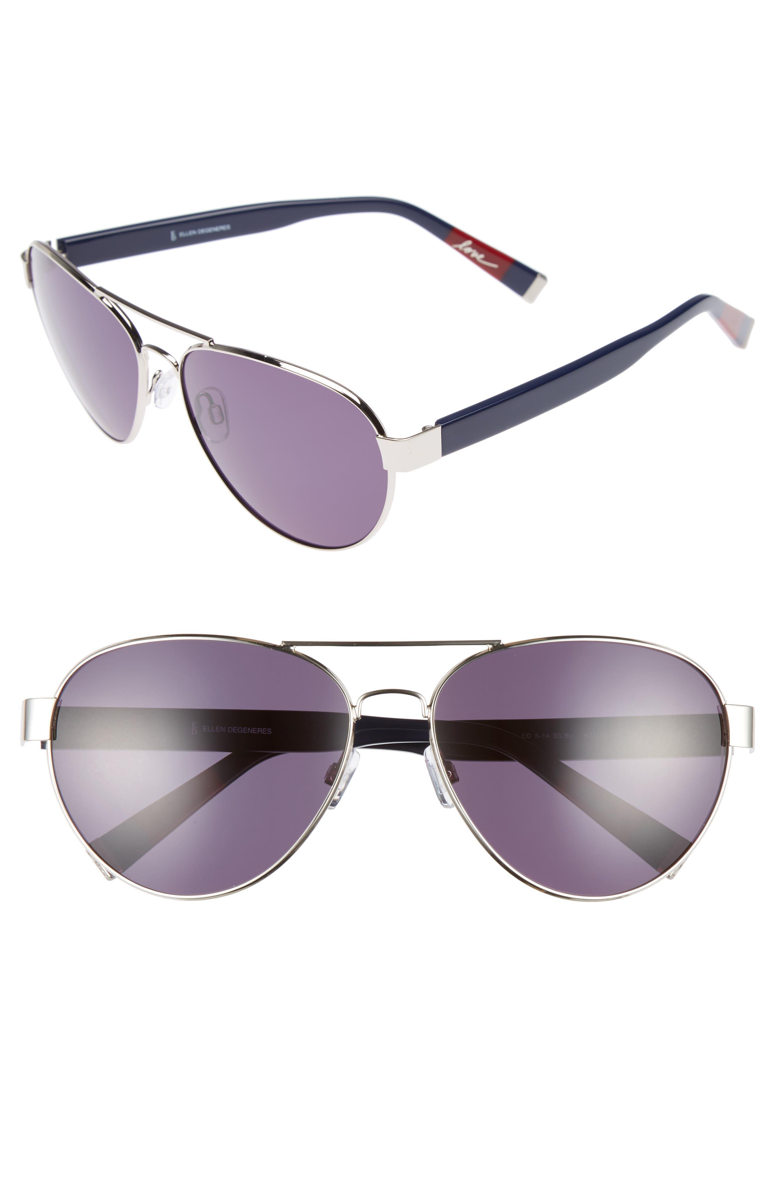 62mm Oversize Aviator Sunglasses,                         Main,                         color, SILVER BLUE