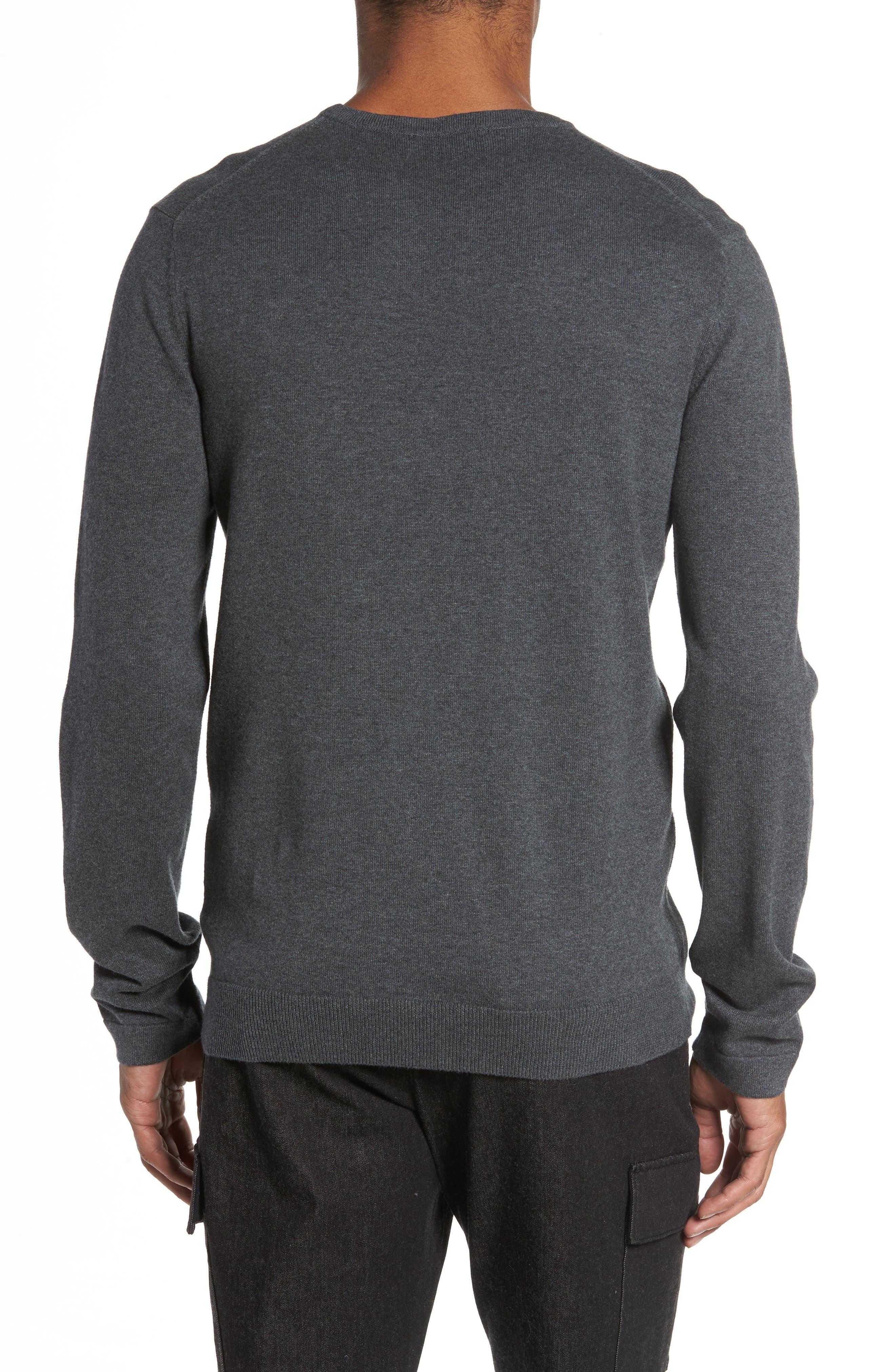 Milano Front Regular Fit Cotton Sweater,                             Alternate thumbnail 2, color,                             CHARCOAL MELANGE