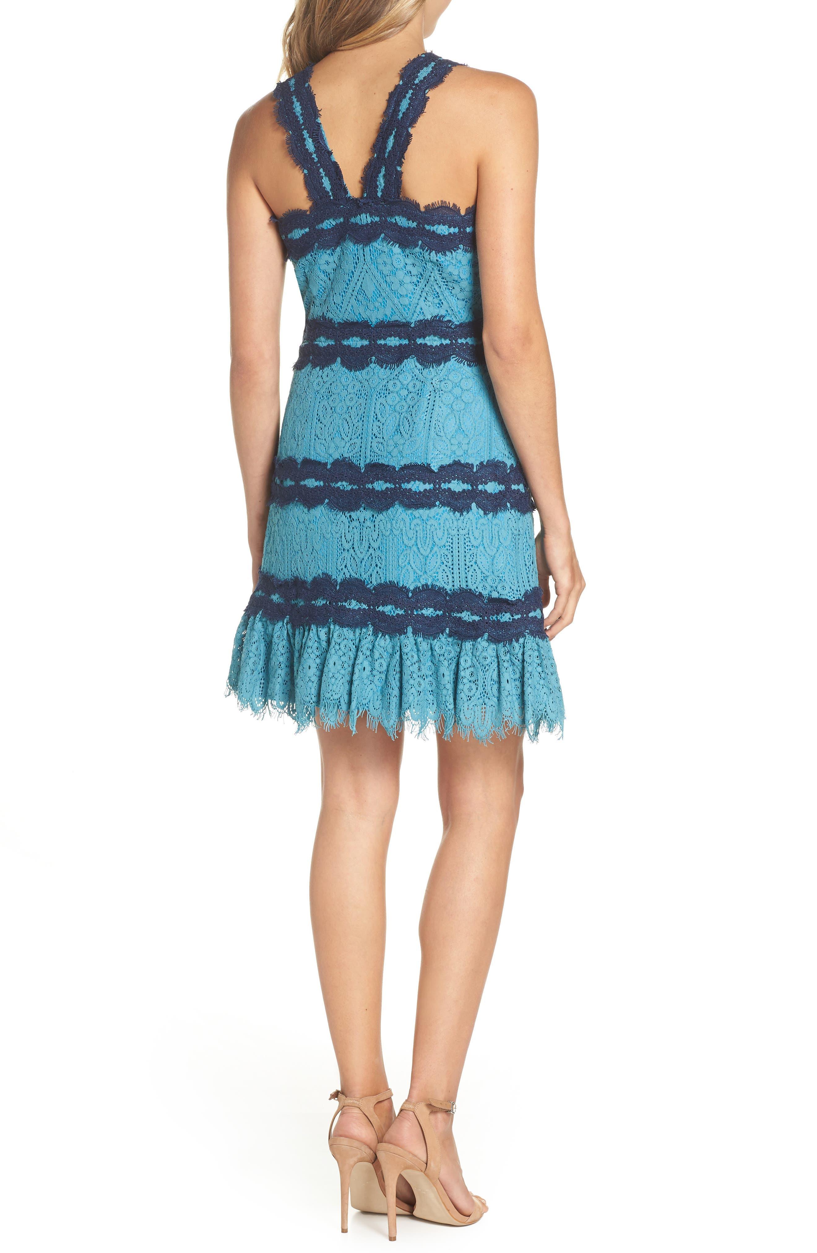 Lula Ruffle Lace Dress,                             Alternate thumbnail 2, color,                             TEAL/ NAVY