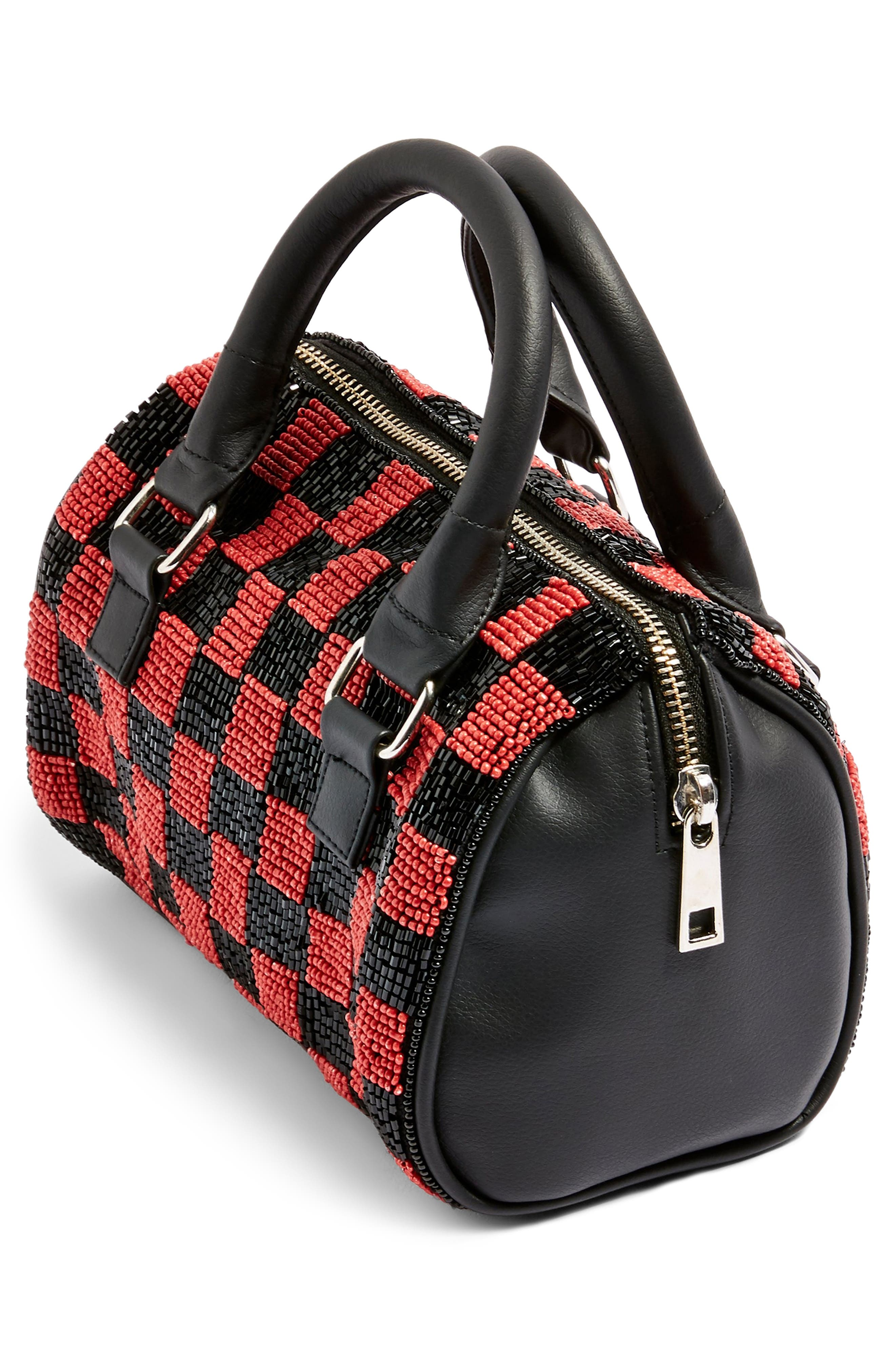 Checkerboard Mini Bowler Bag,                             Alternate thumbnail 4, color,                             RED MULTI